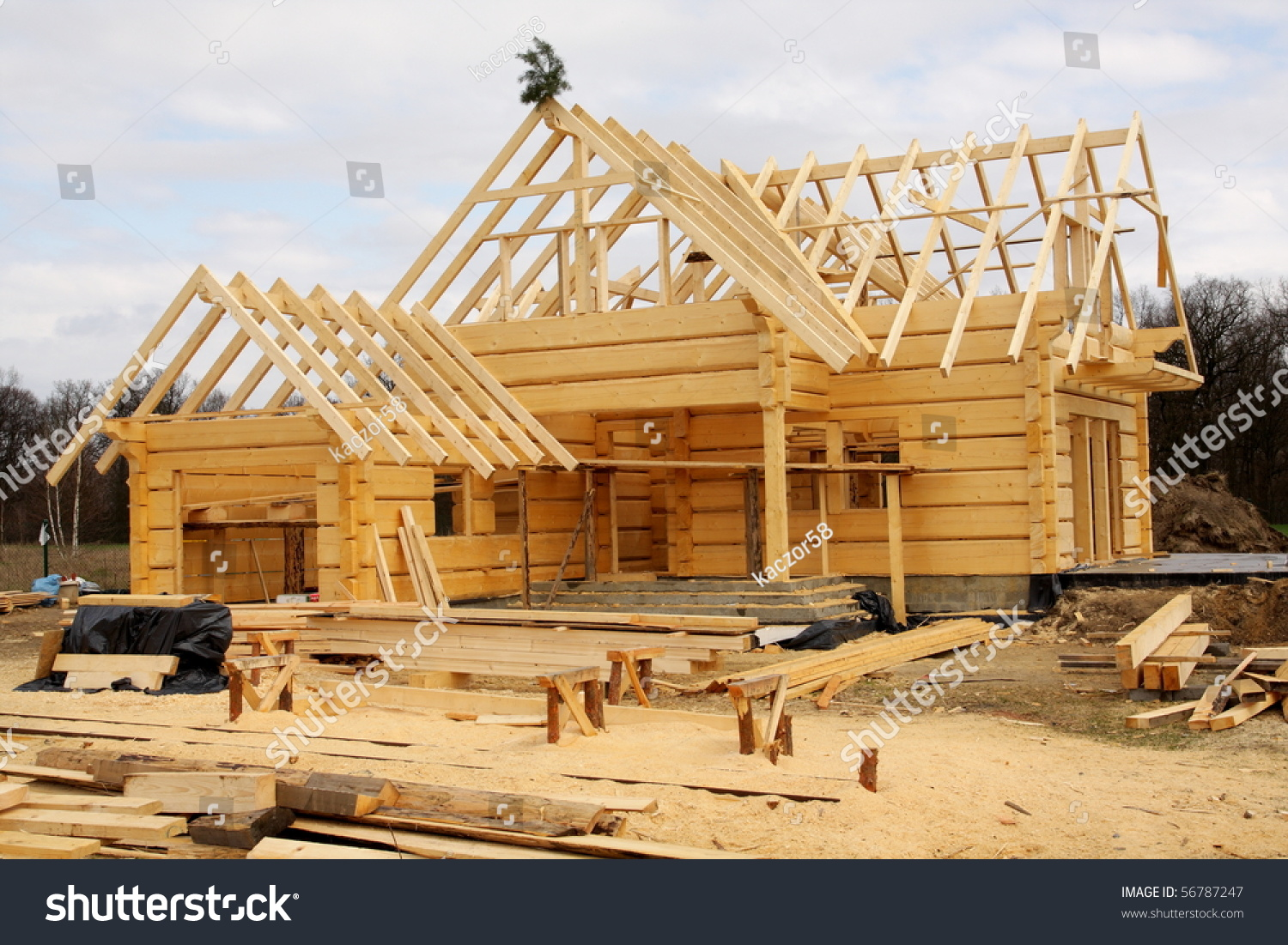 Unfinished ecological wooden house building area stock for Best wood for building a house