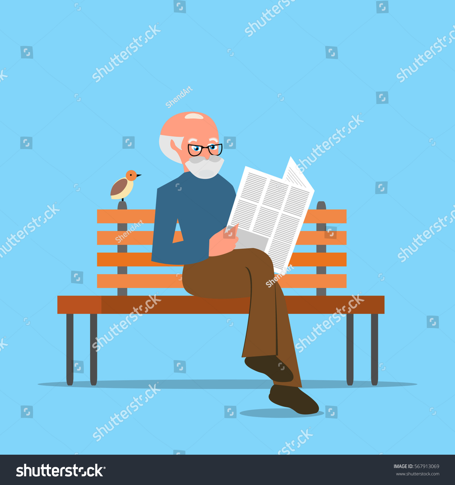grandfather sitting on bench reading newspaper stock vector (royalty