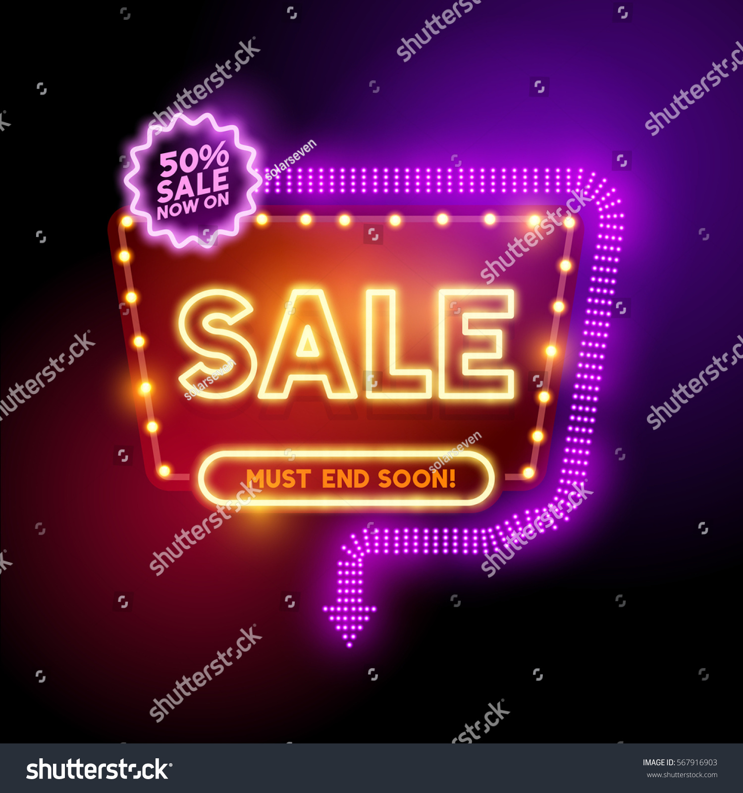 Retro Vintage Theatre Style Sign Glowing Stock Vector