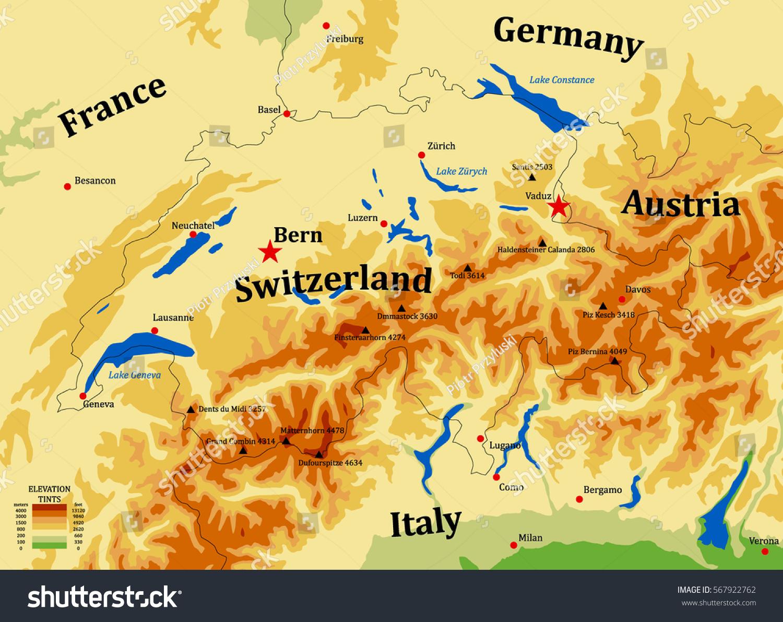 Switzerland Physical Vector Map Cities Mounts Stock Vector - Cities map switzerland