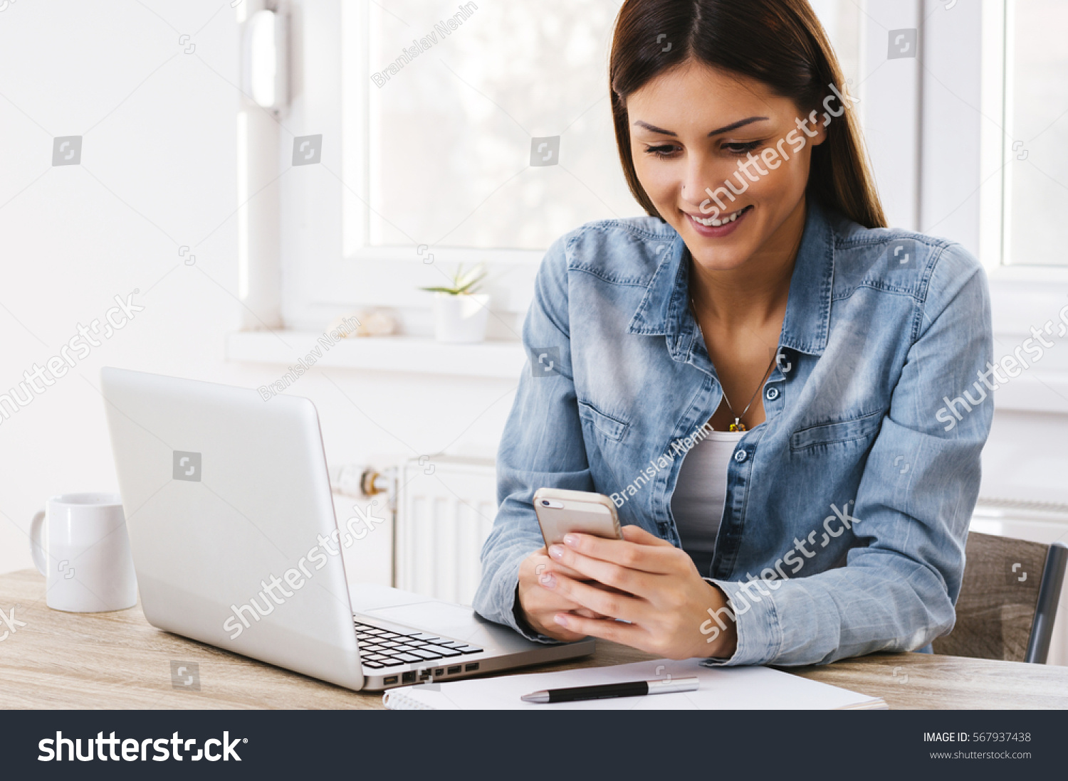 Woman Working Home Office Phone Computer Stock Photo 567937438