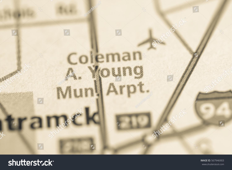 Coleman Michigan Map.Coleman A Young Municipal Airport Michigan Stock Photo Edit Now