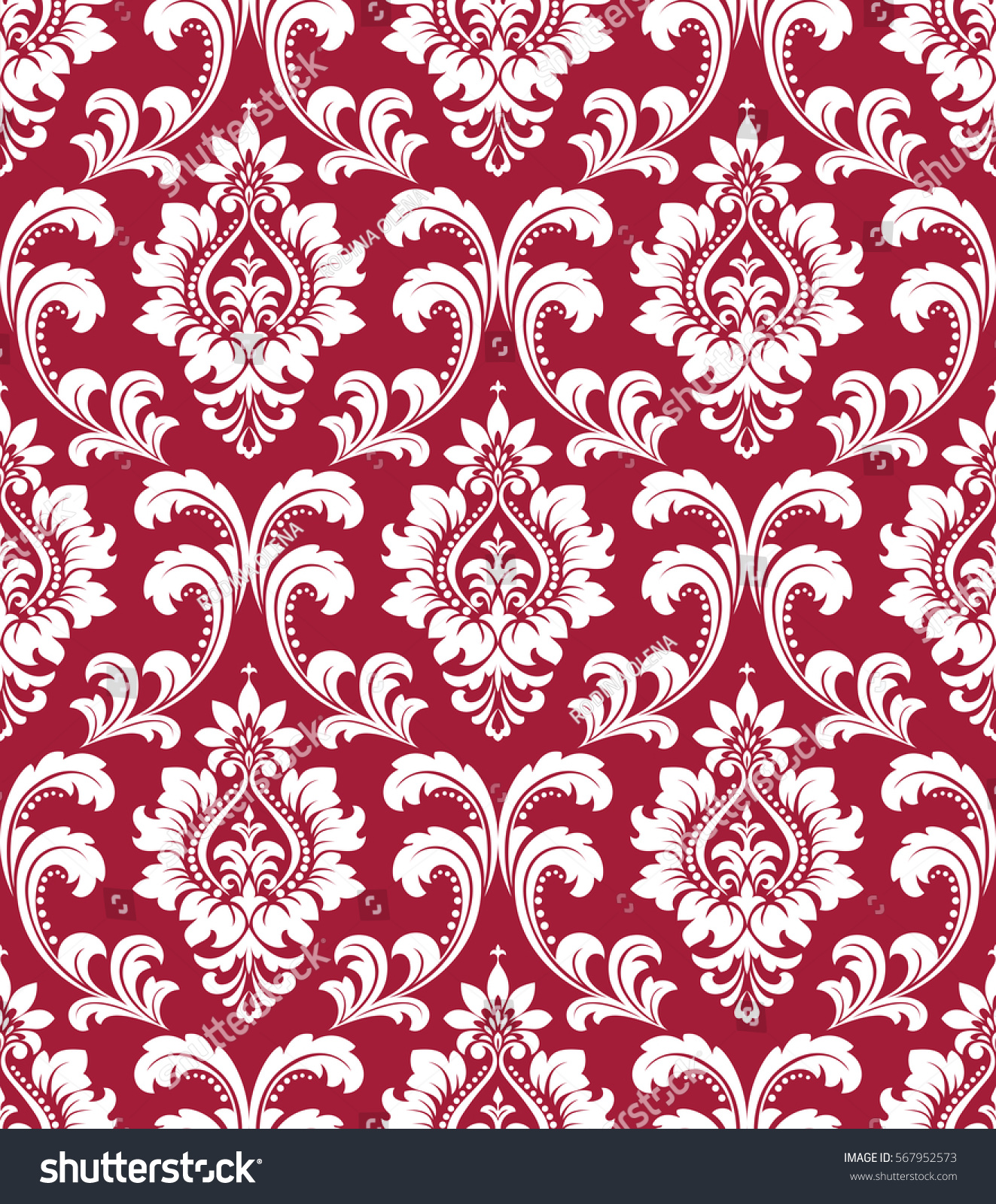 Red And White Patterned Wallpaper: Floral Pattern Wallpaper Baroque Damask Seamless Stock