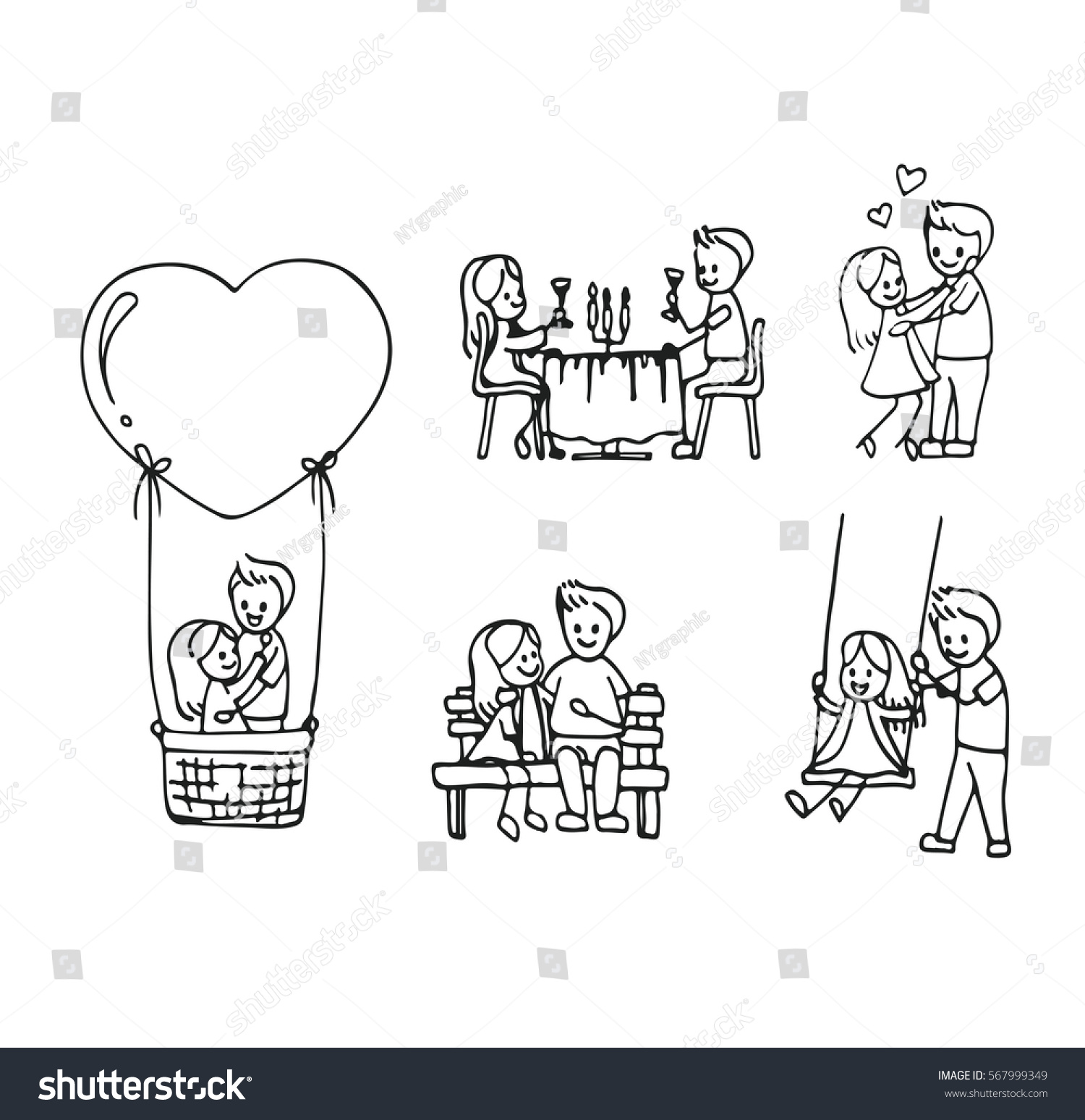 vector hand draw romance couple dating stock vector 567999349