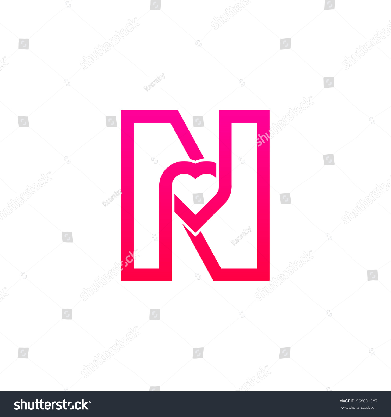 Letter N Heart Logo Pink Color Valentine Day Stock Vector (Royalty ...