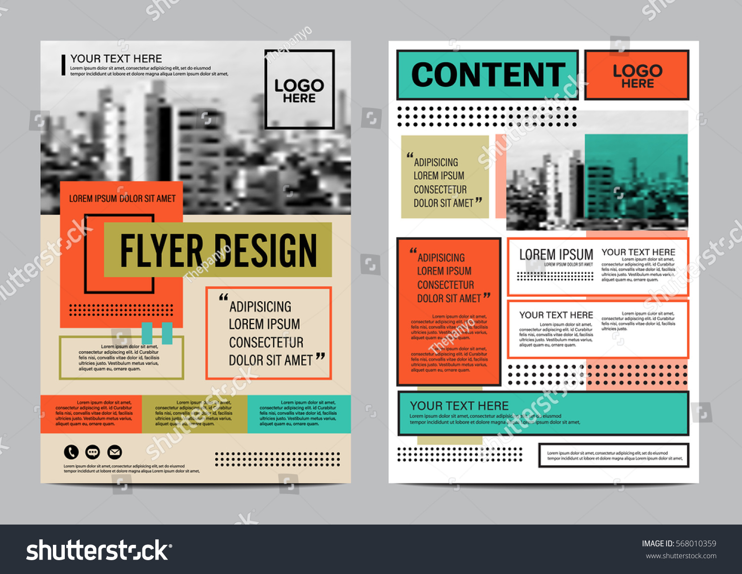 retro brochure layout design template annual stock vector royalty