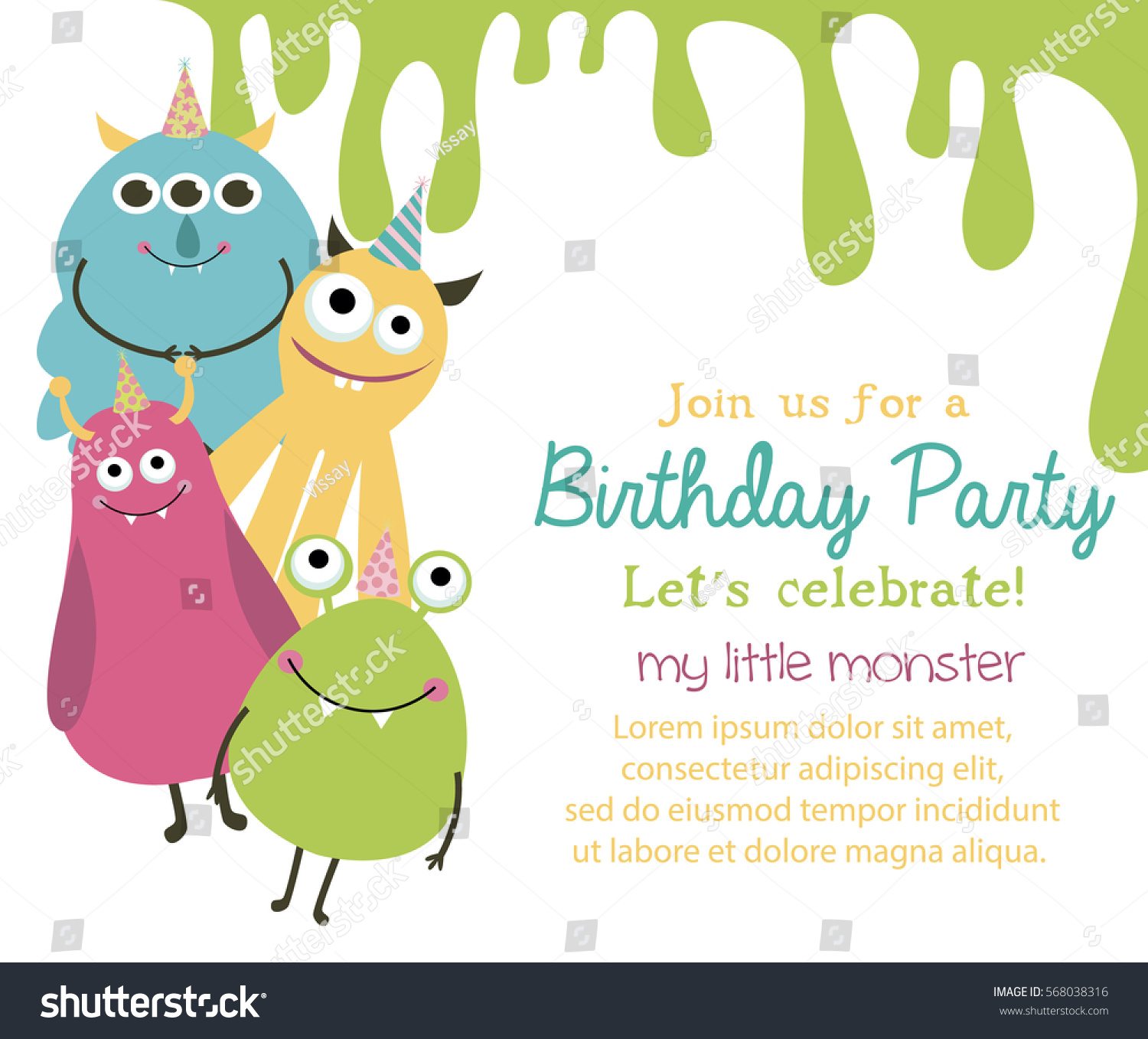 Monster Birthday Party Invitation Greeting Card Stock Vector ...