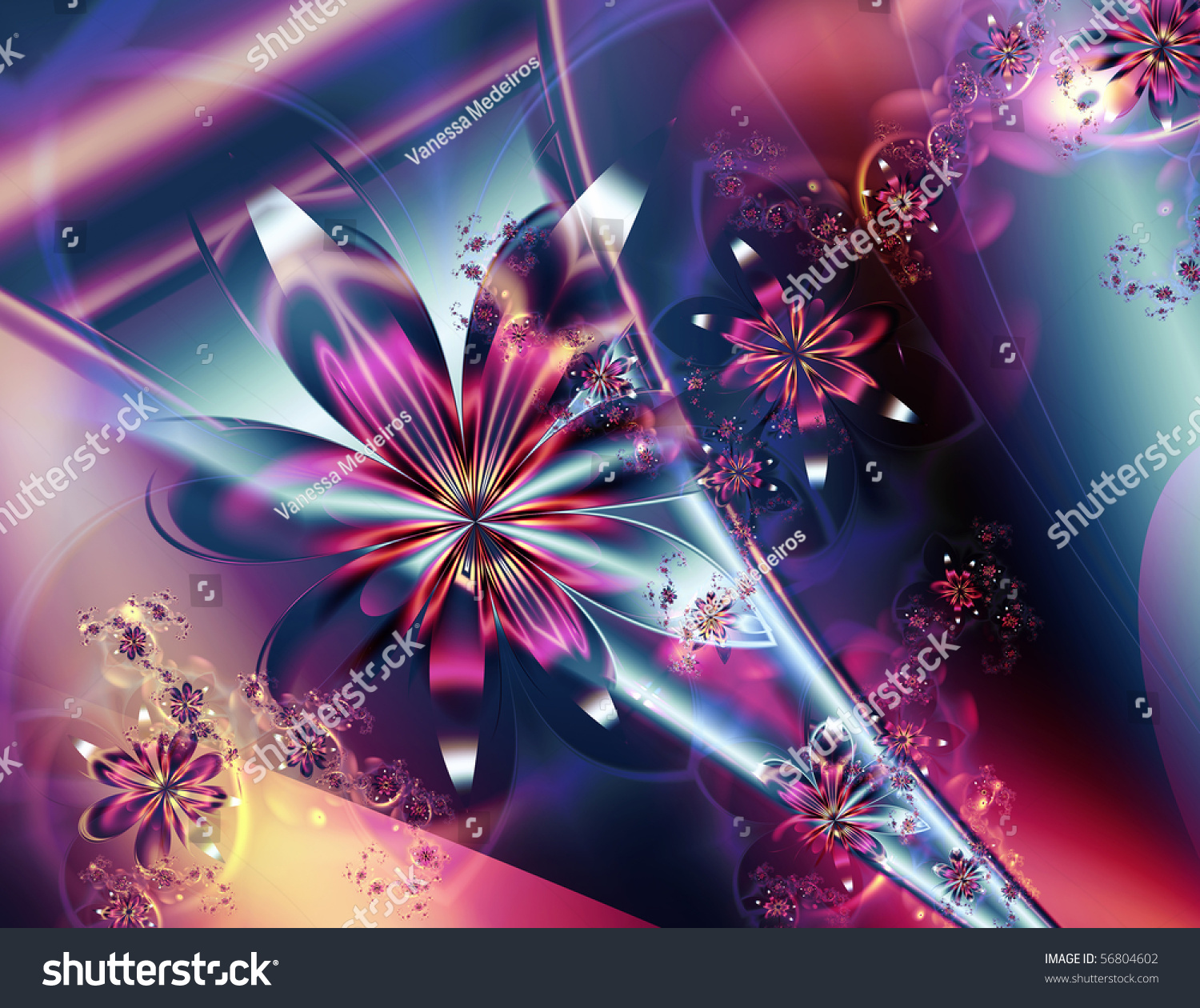 Colorful Abstract Fractal Pink Flower Blue Stock