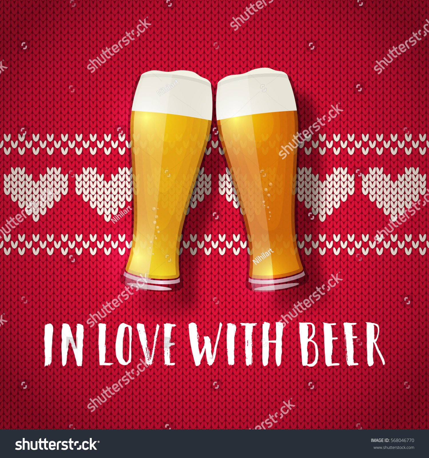 Beer Valentine Poster. Two Glasses On A Sweater Background. Vintage Hearts  Knit Pattern.