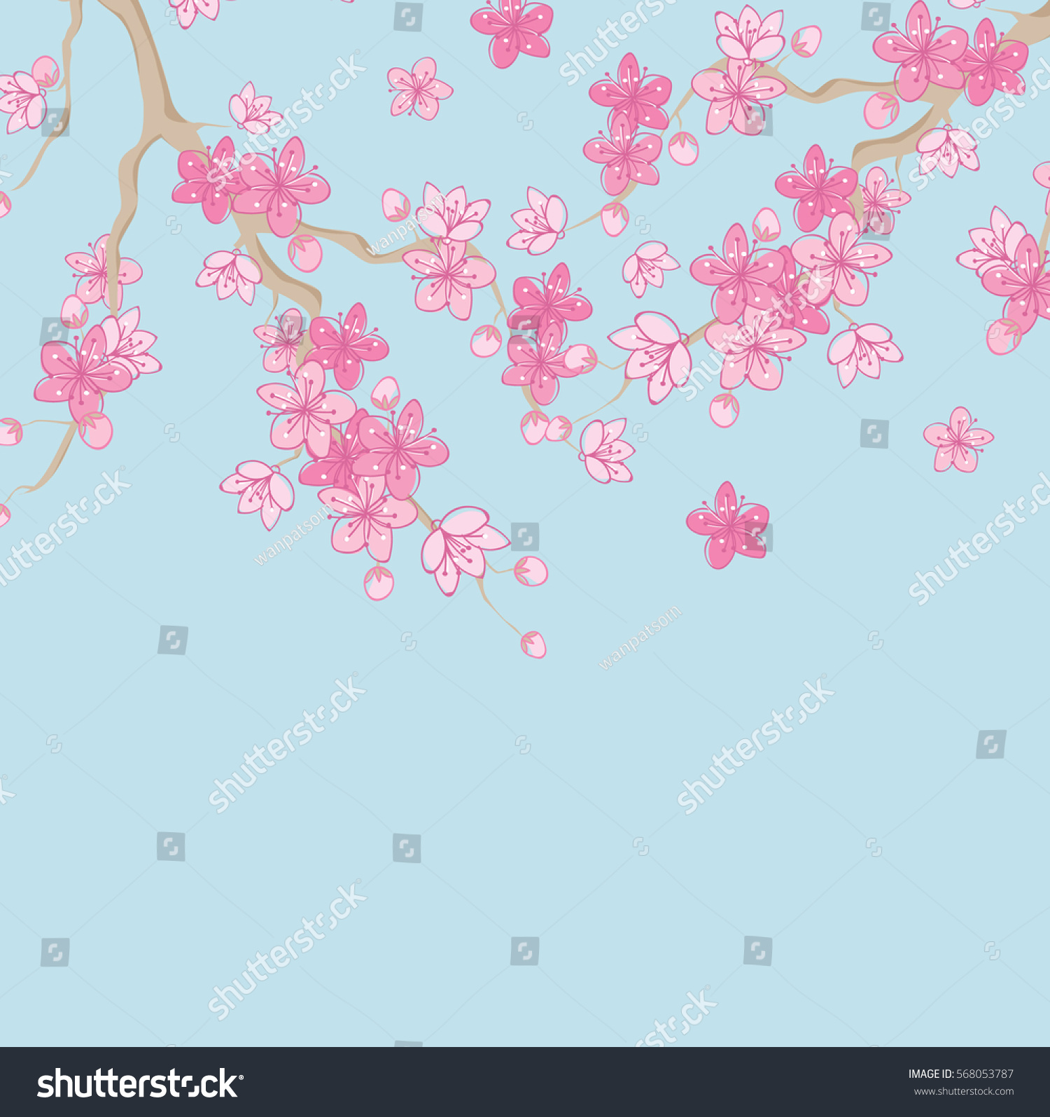 Pink Beautiful Sakura Or Cherry Blossom Branch With Flowers Drawn In