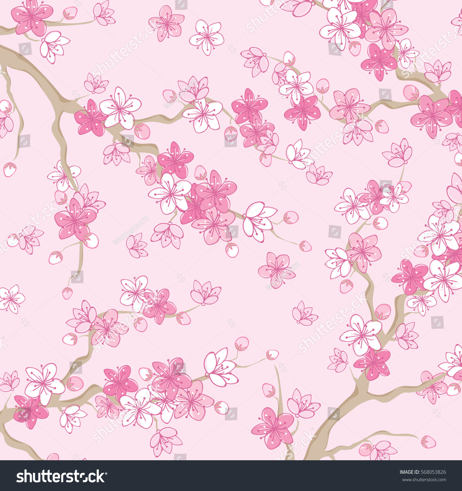 Pink Beautiful Sakura Cherry Blossom Branch Stock Vector 568053826 ...
