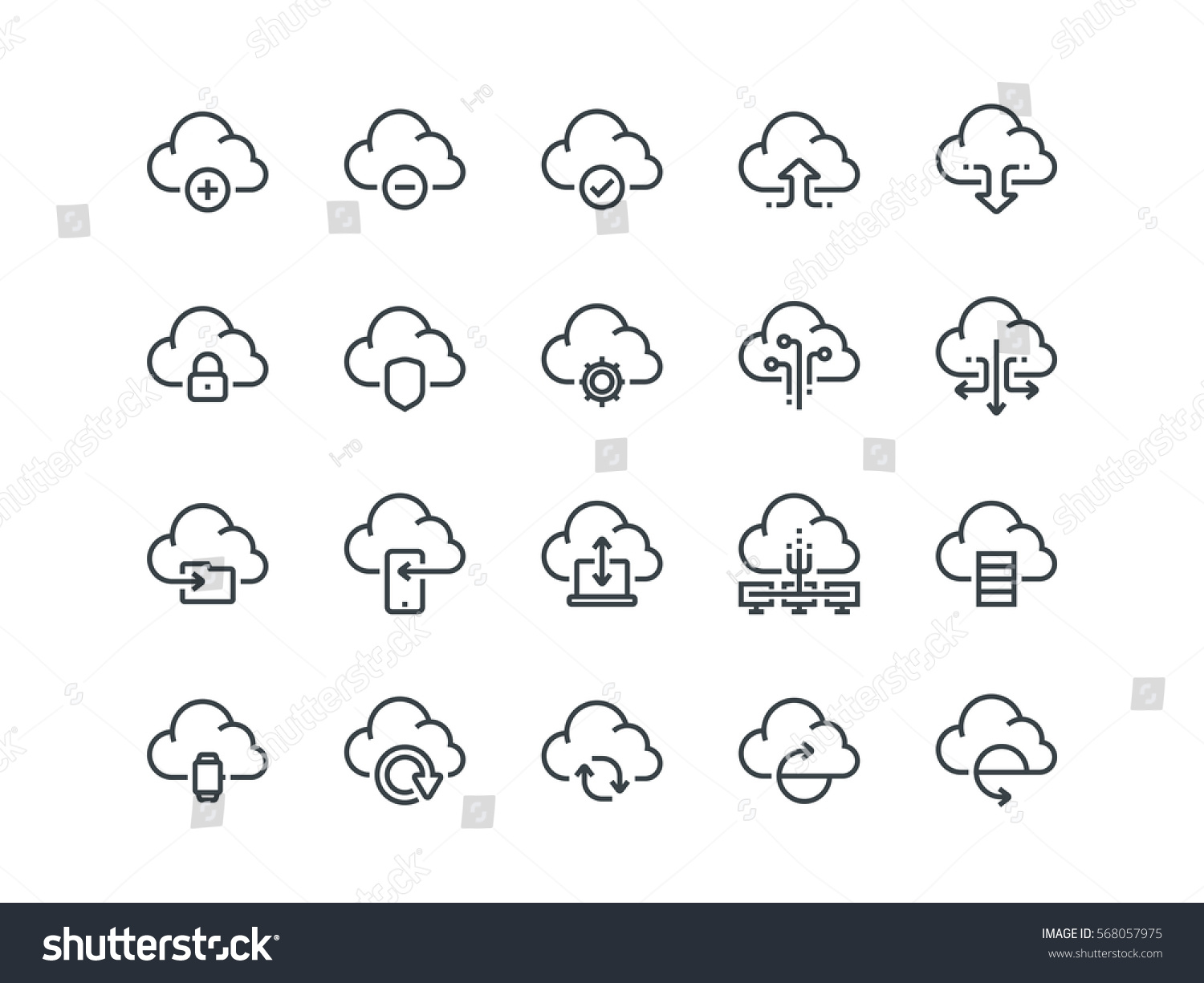 Cloud Storage Set Of Outline Vector Icons Includes Such As Data Synchronization Transfer