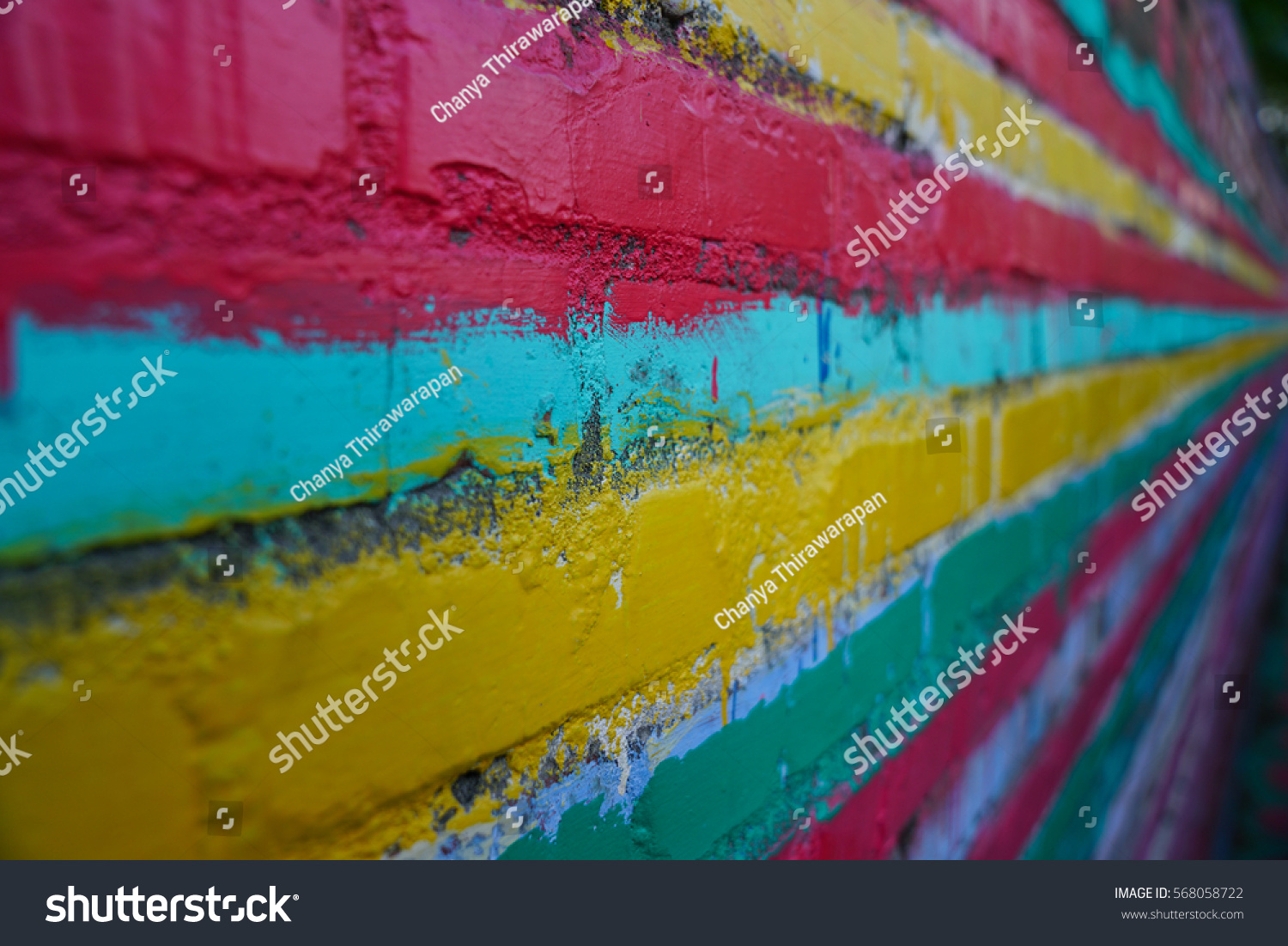 Old Wall Painted Bright Rainbow Colors Stock Photo 568058722 ...