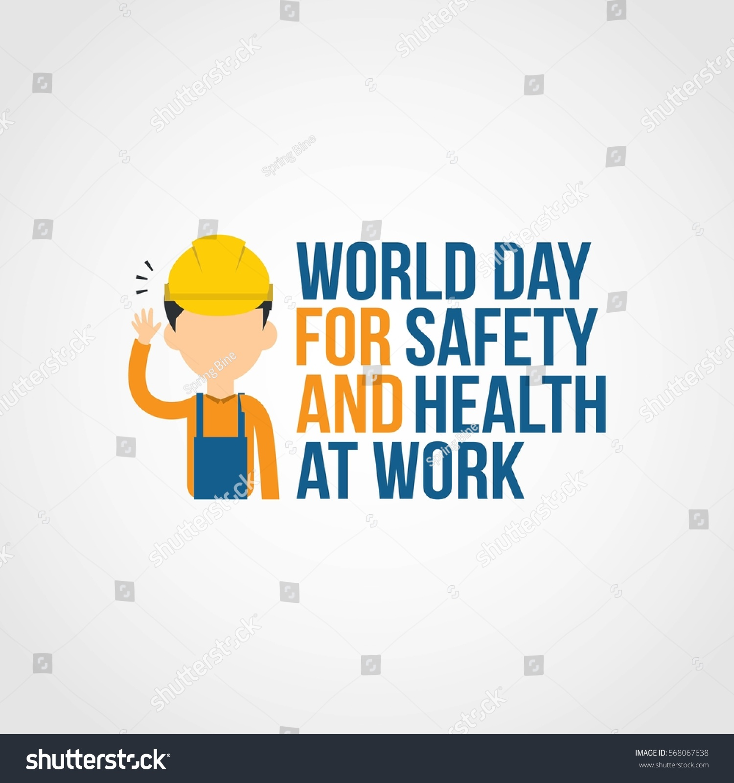 world day safety health work vector stock vector 568067638