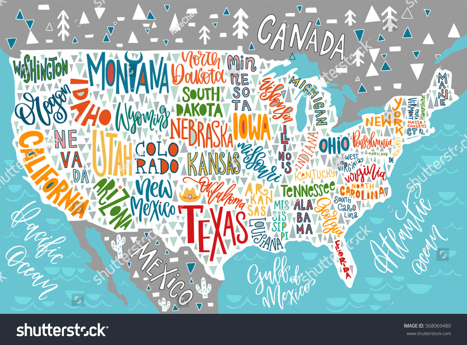 Usa Map States Pictorial Geographical Poster Stock Vector - Poster map of usa