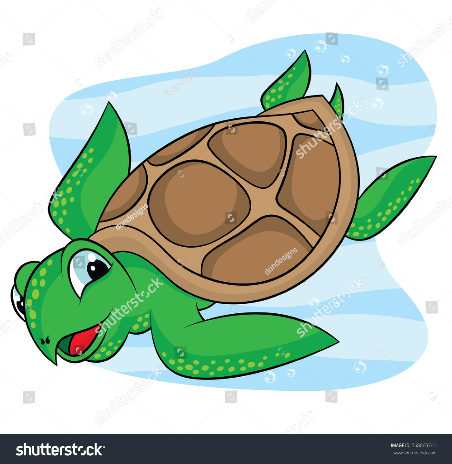 Sea Turtle Cartoon Drawings Stock Vector 568069741 Shutterstock