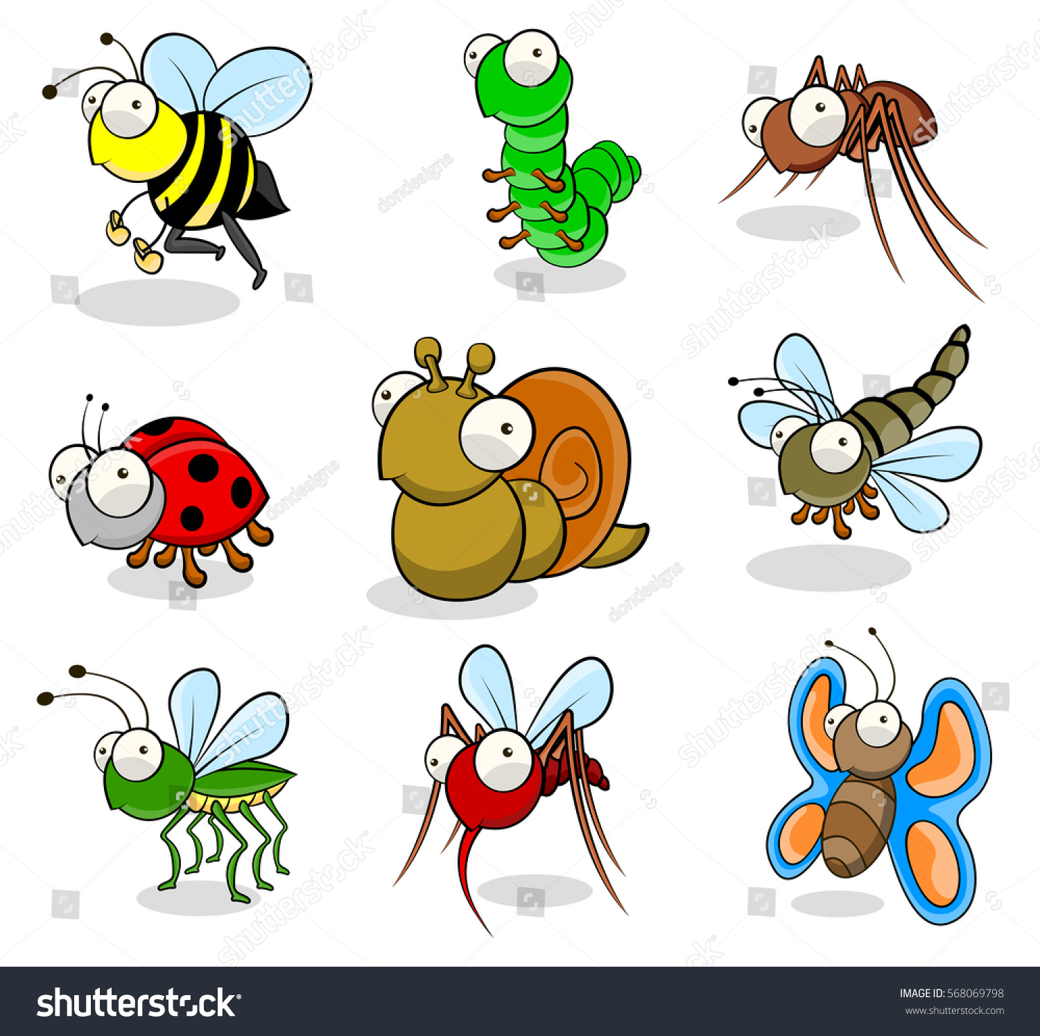 small insects cartoon drawings stock vector 568069798 shutterstock