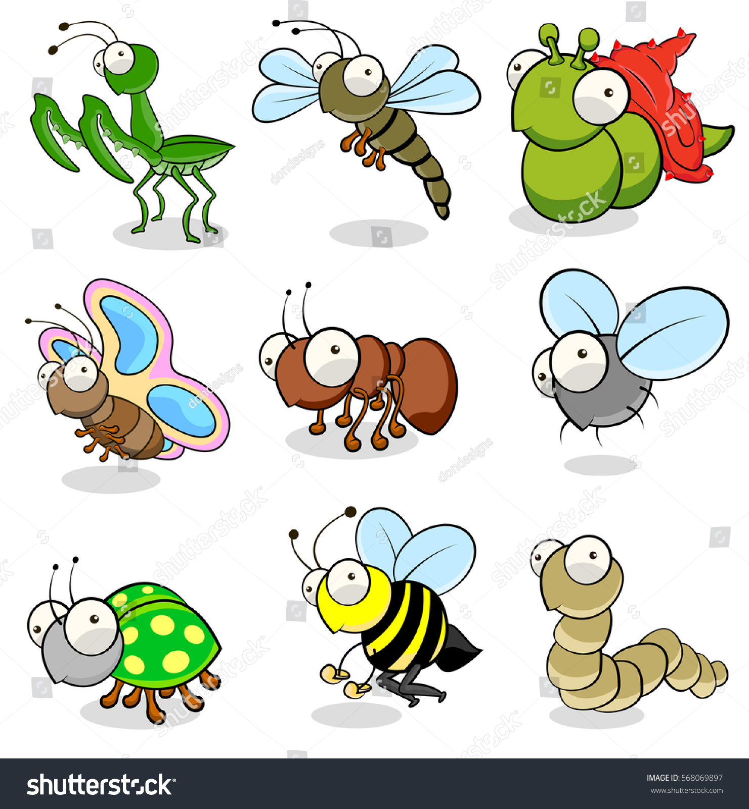 collection animals insects cartoon drawings stock vector 568069897