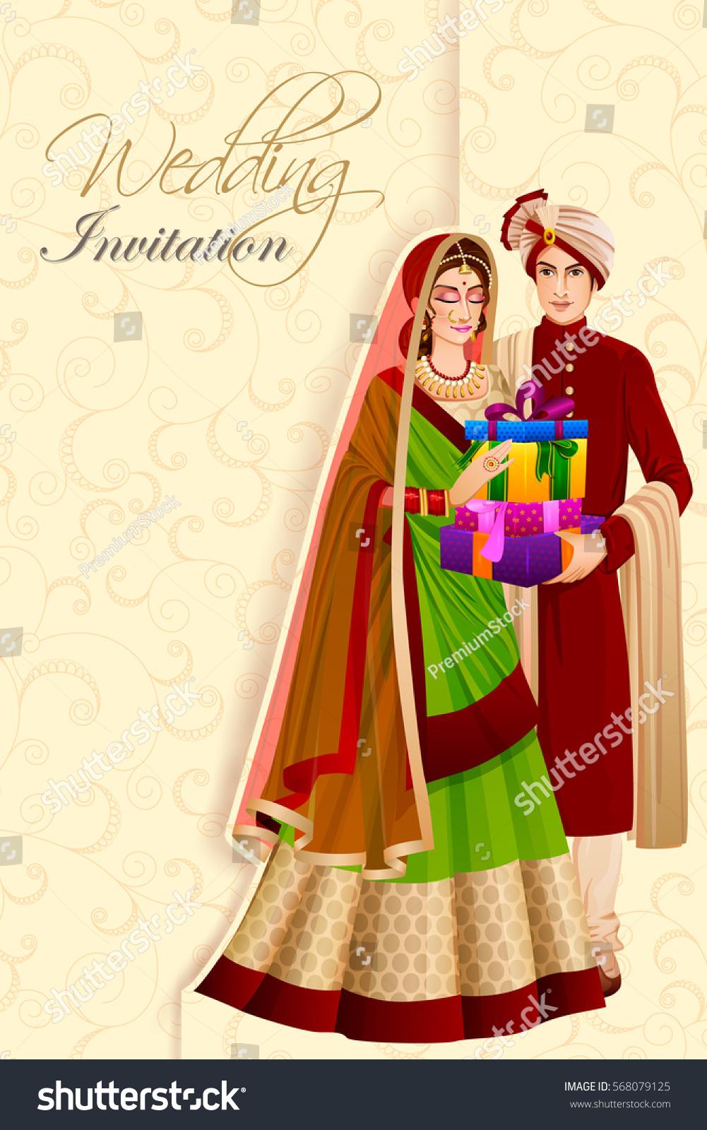 Vector Design Indian Man Couple Gift Stock Vector Royalty Free 568079125