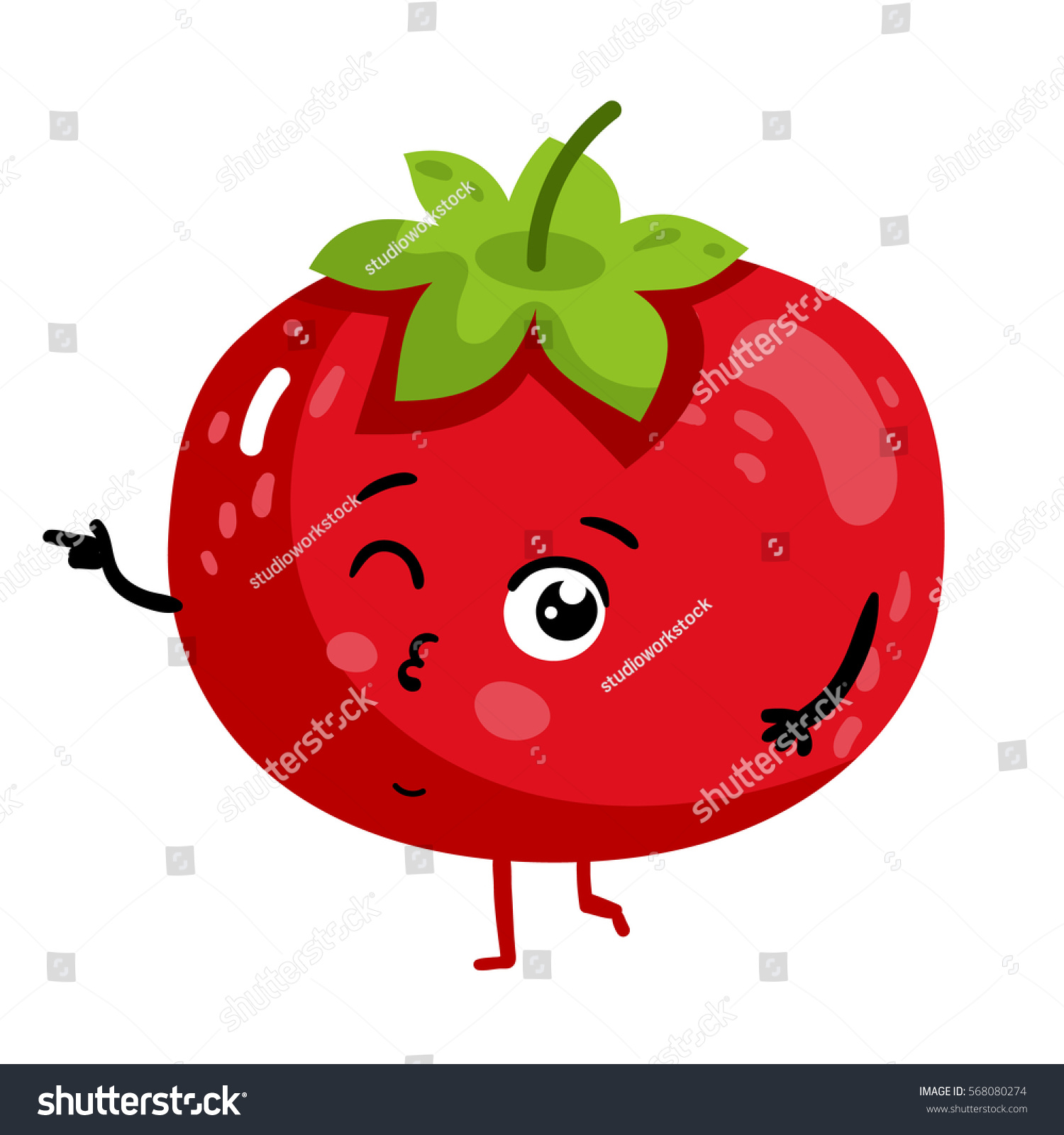 Cute Vegetable Tomato Cartoon Character Isolated Stock ...