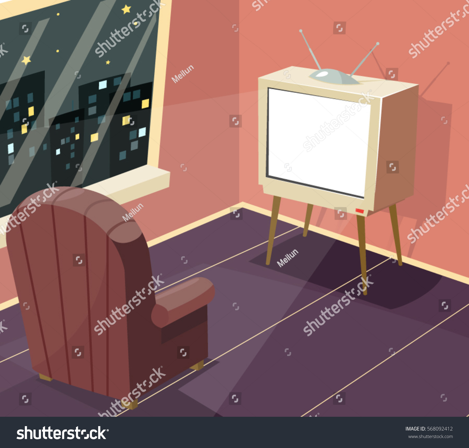 Cartoon kitchen with cabinets and window vector art illustration - Armchair In Front Of Tv Icon On Room Window Night City Background Cartoon Design Vector Illustration