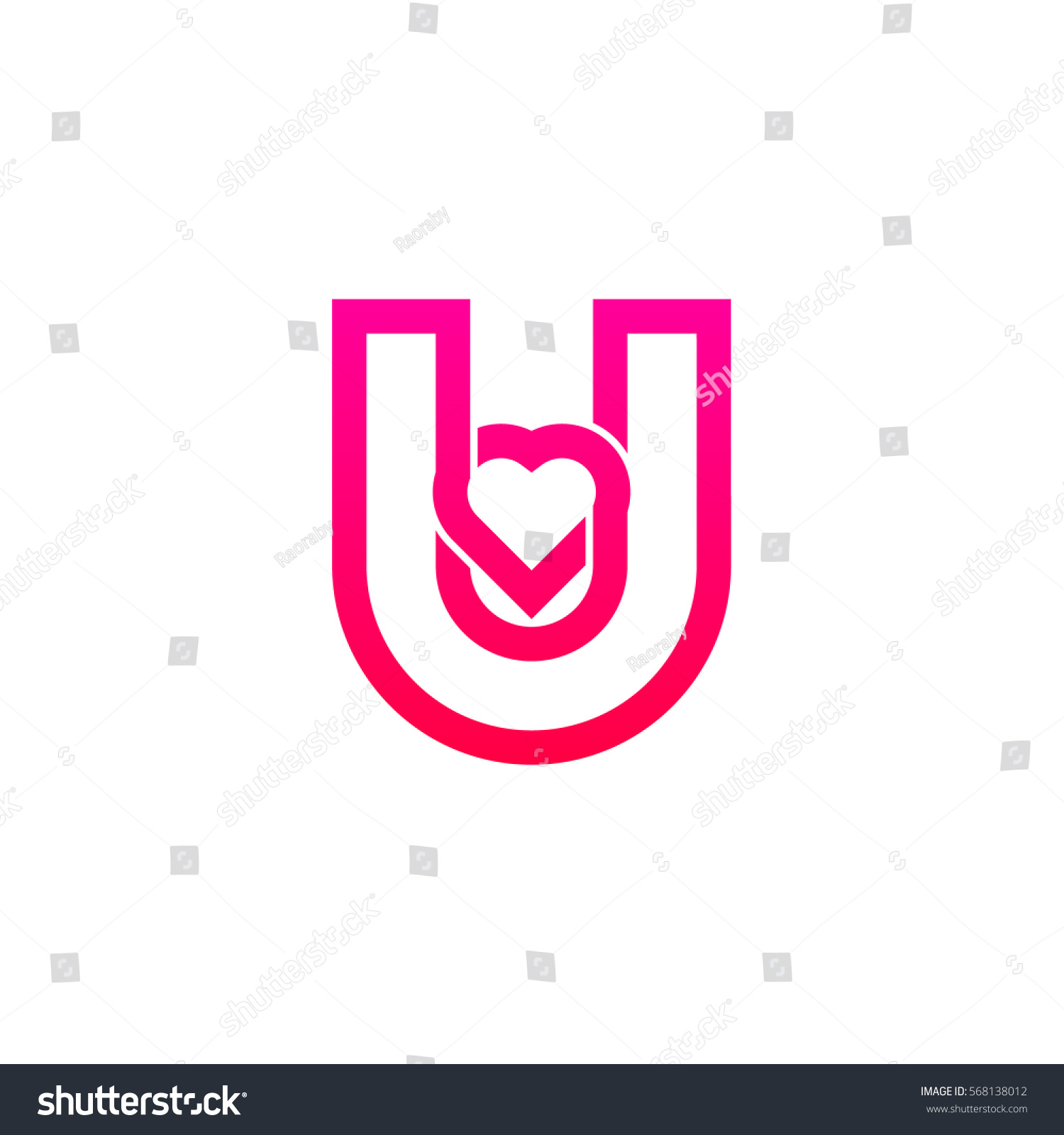 Letter U Heart Logo Pink Color Valentine Day Stock Vector (Royalty ...