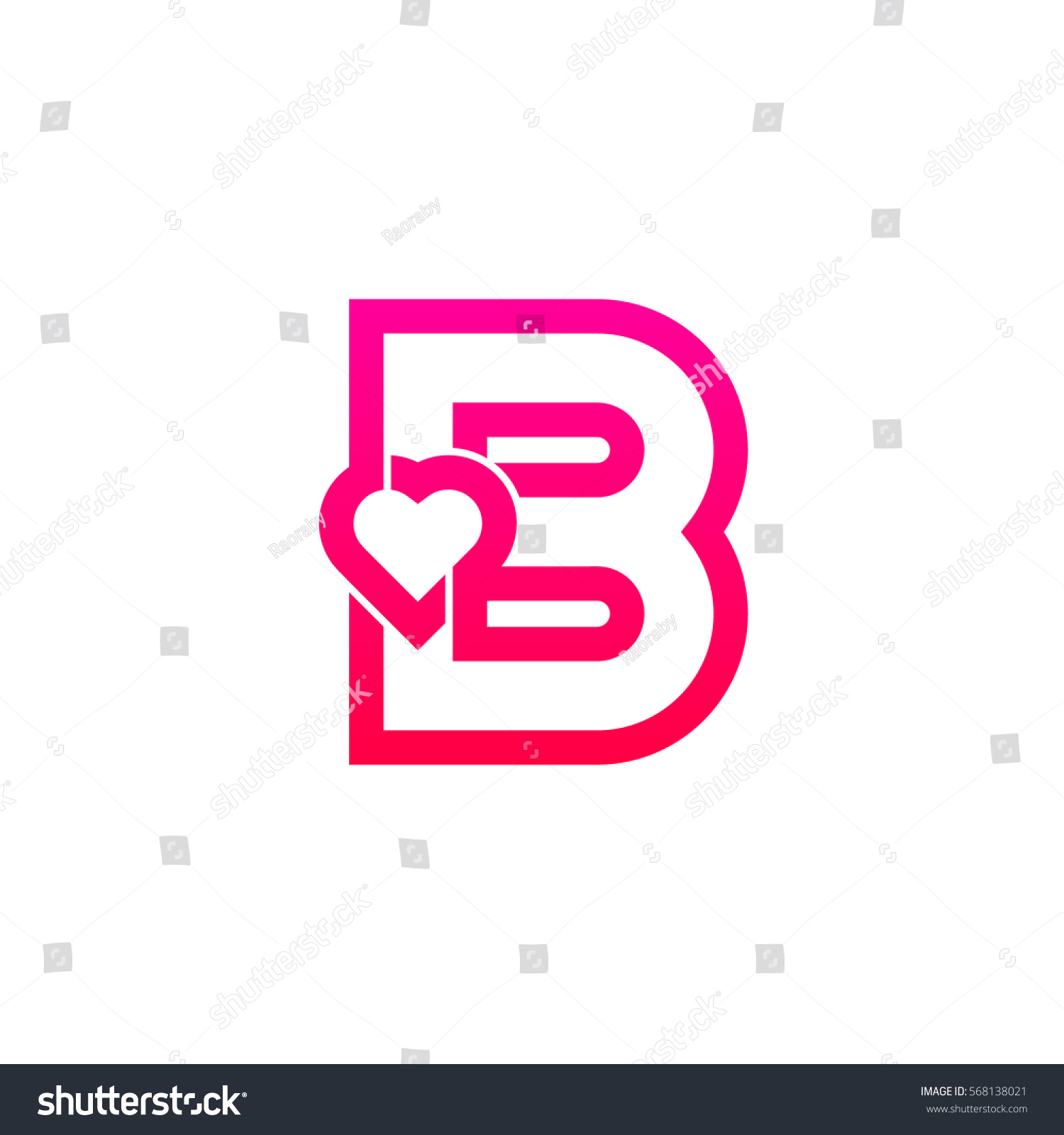 Letter B Heart Logo Pink Color Valentine Day Stock Vector (Royalty ...