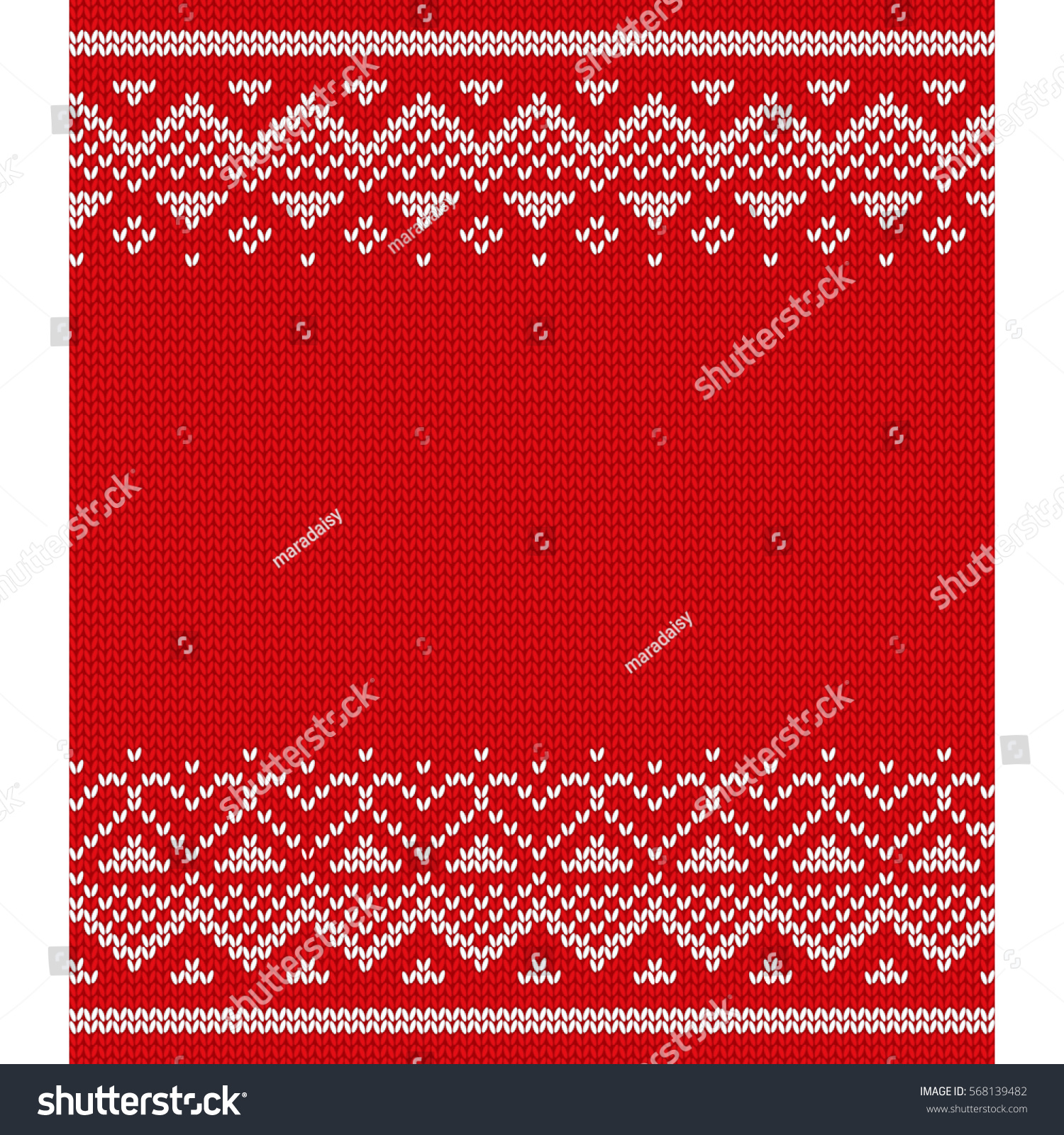 Knitted Pattern Vector Valentines Day Knitting Stock Vector HD ...