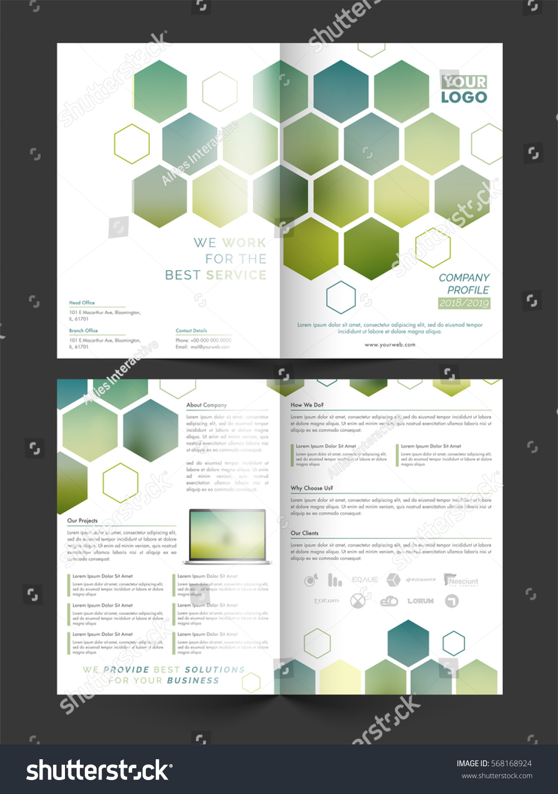 4 sided brochure template - two sided presentation four pages business stock vector