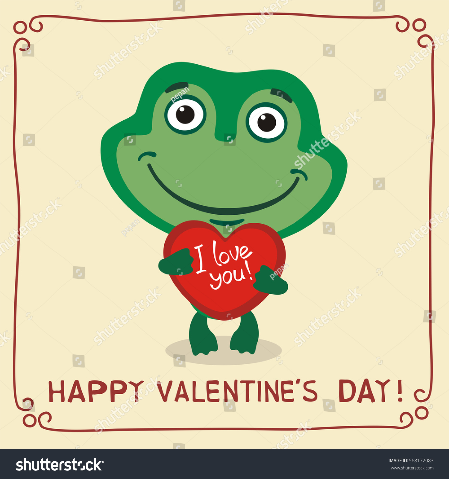 Happy Valentineu0027s Day! I Love You! Funny Frog With Heart In Hands.  Valentines