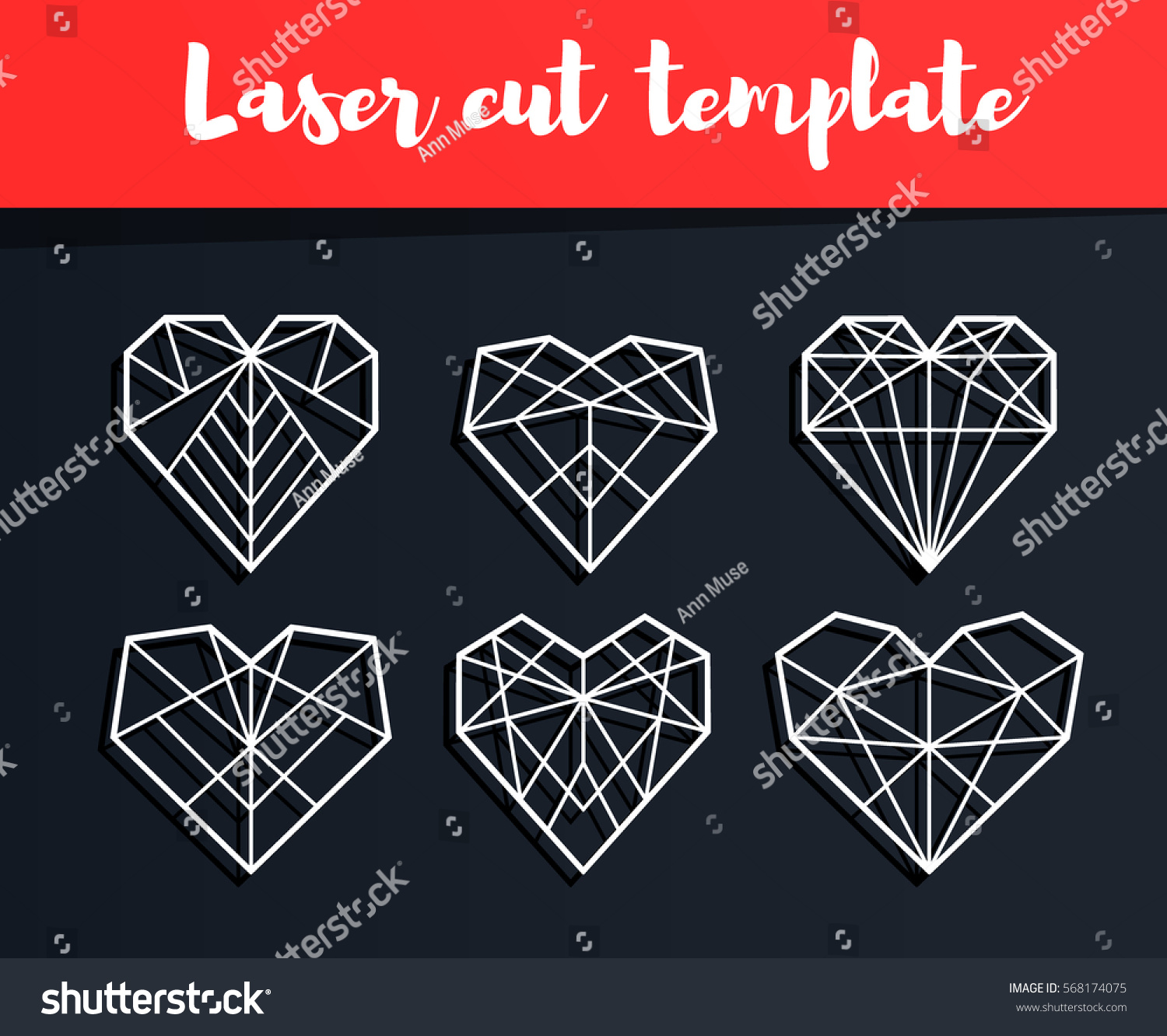Laser Cut Template Valentines Card Geometric Stock Vector (Royalty ...