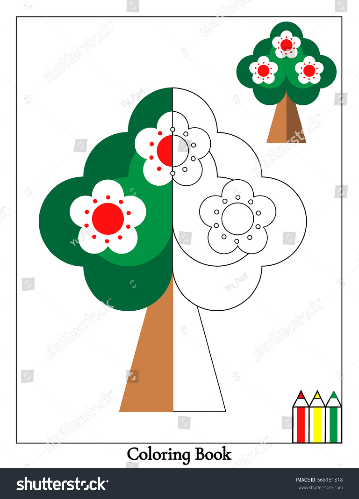 Preschool Coloring Page Blooming Tree Vector Stock Vector 568181818 ...
