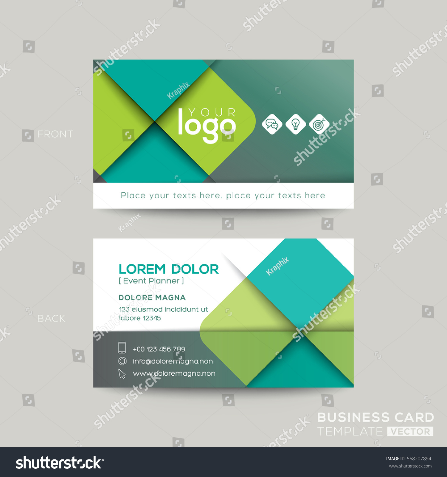 Clean Simple Green Business Card Namecard Stock Vector 568207894 ...