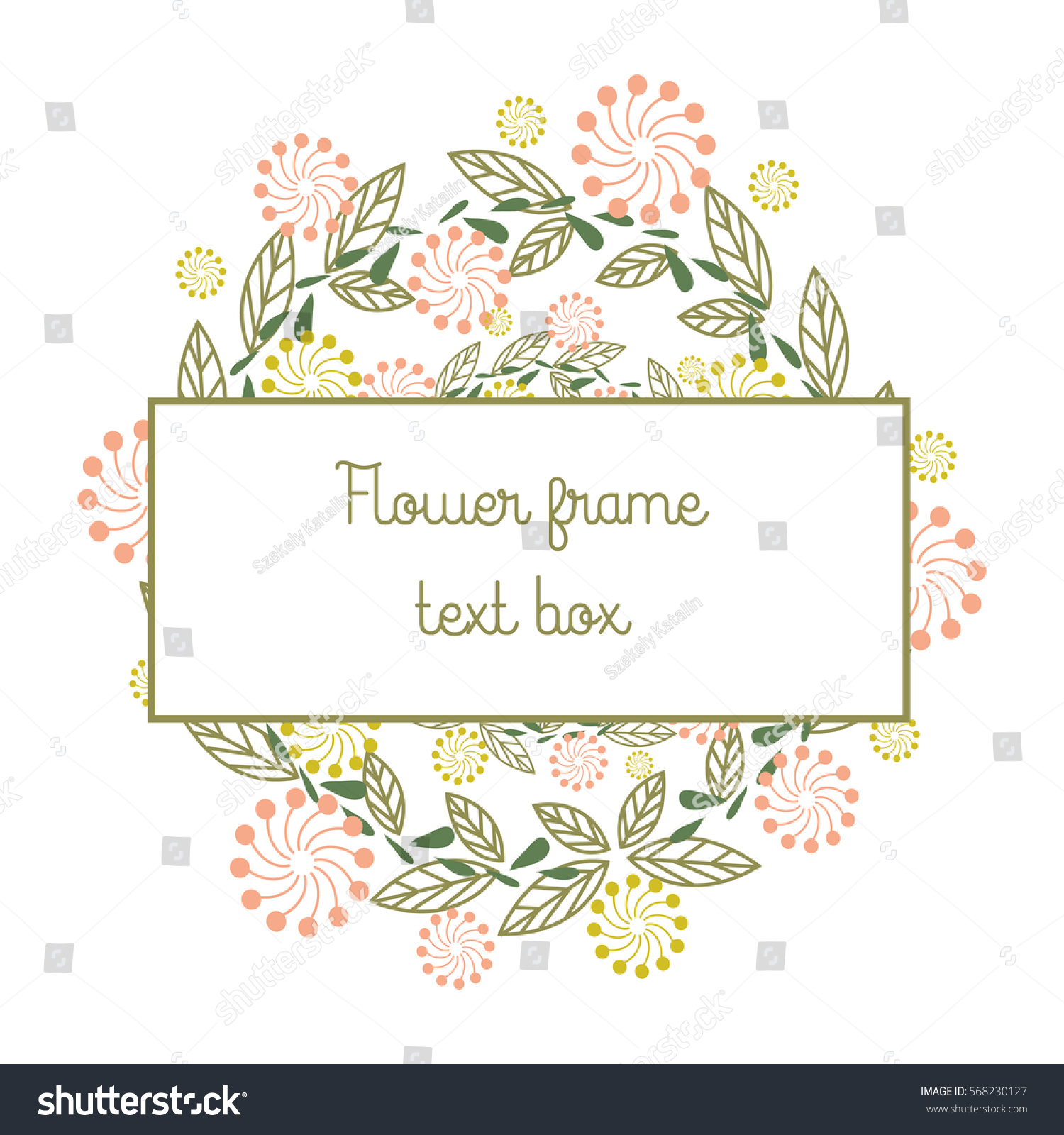 Vector Flower Frame Template Invitation Greeting Stock Vector ...