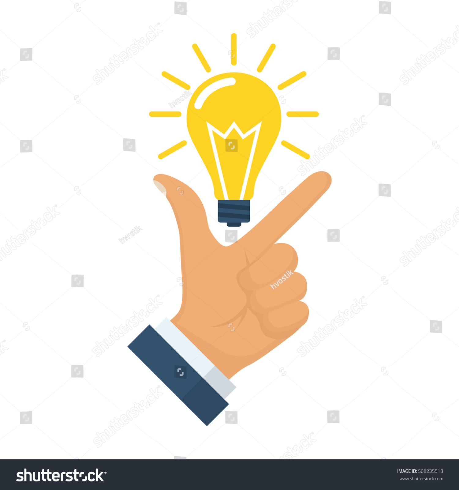Pointing Finger On Bulb Symbol Big Stock Vector Royalty Free