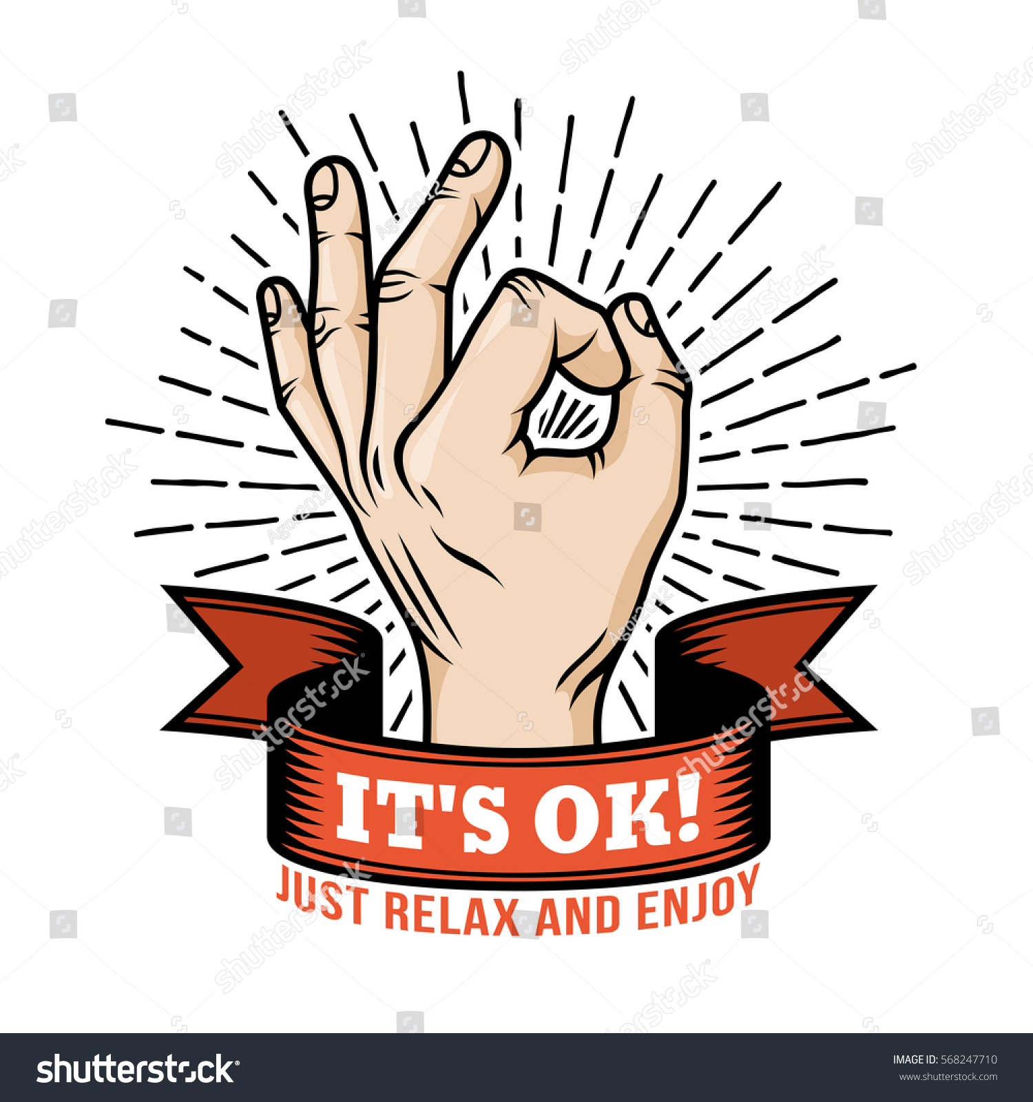 ok hand gesture retro logo template stock vector 568247710 shutterstock. Black Bedroom Furniture Sets. Home Design Ideas