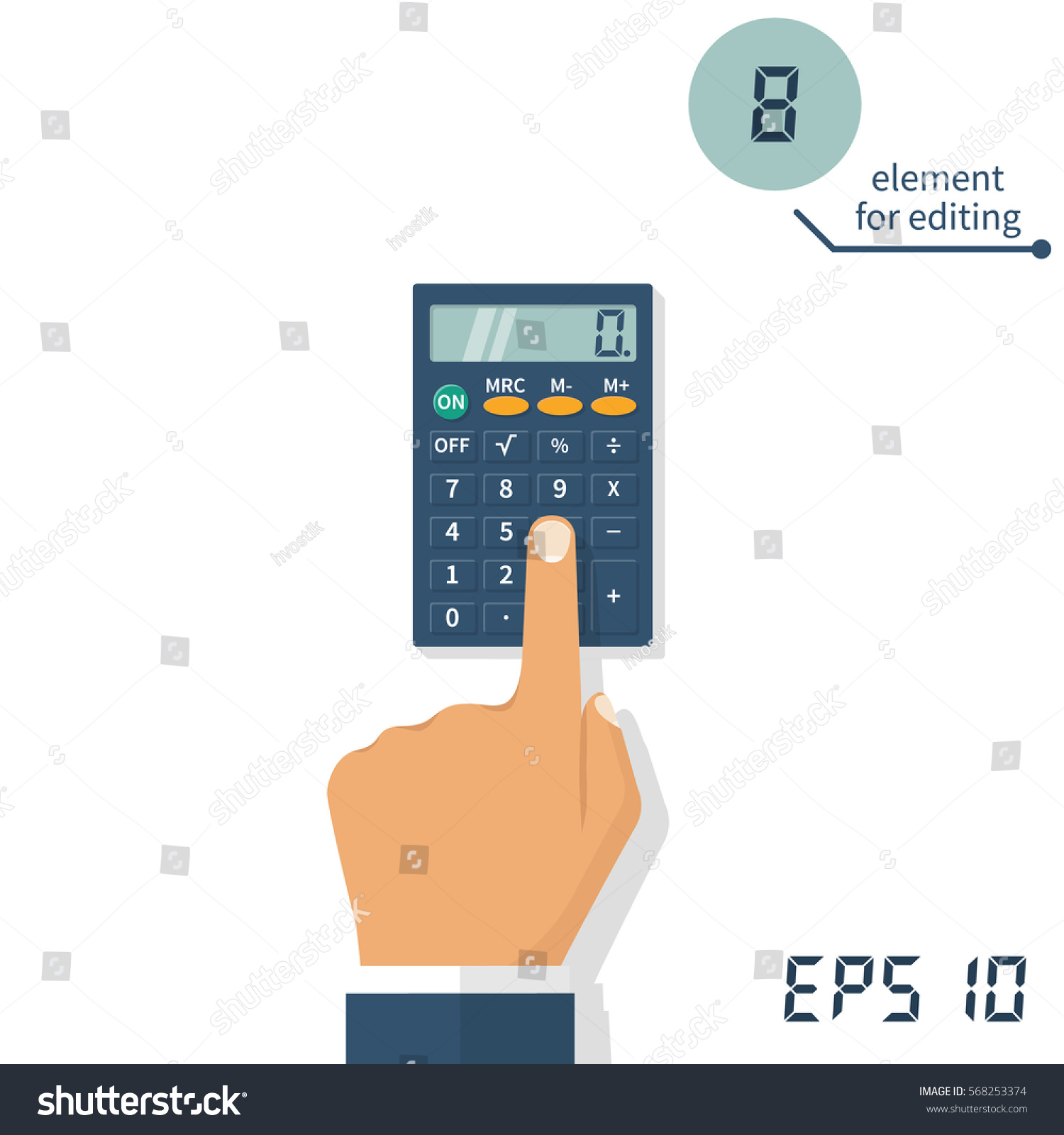 Hand Calculator Calculation Concept Icon Businessman Stock Vector Circuitry Of An Electronic Royalty Free Photography With A Accountant Flat Design