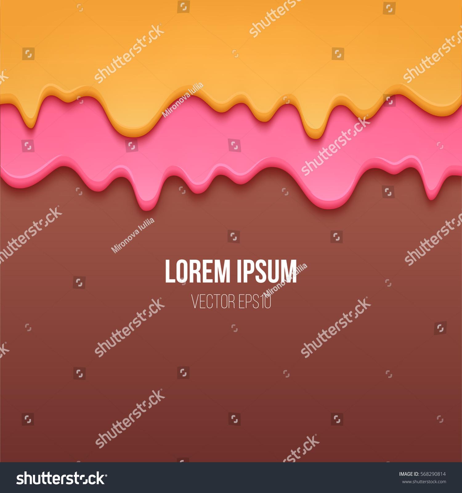 Ice Cream Background Sparking Shiny Decoration Free Vector: Vector Background Flowing Cream Glaze Stock Vector