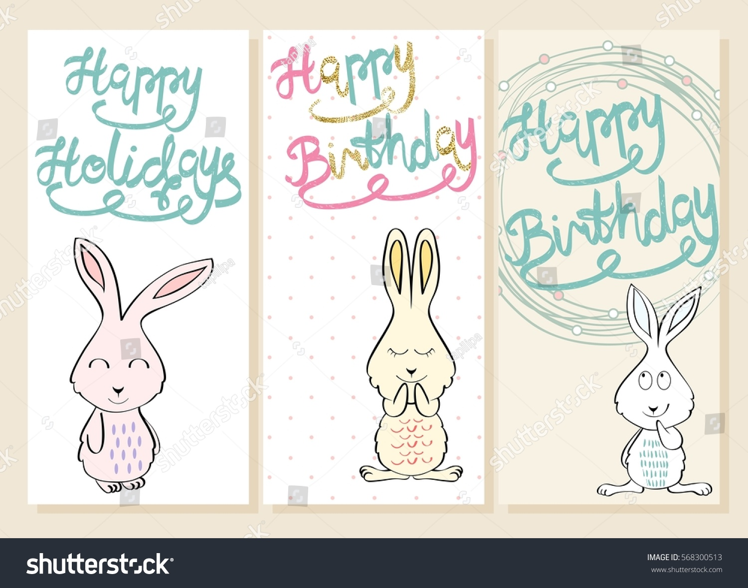 Collection Cute Artistic Cards Kids Bunny Stock Vector 568300513