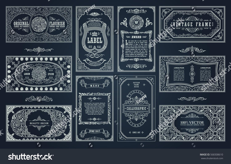 vintage set retro cards template greeting のベクター画像素材