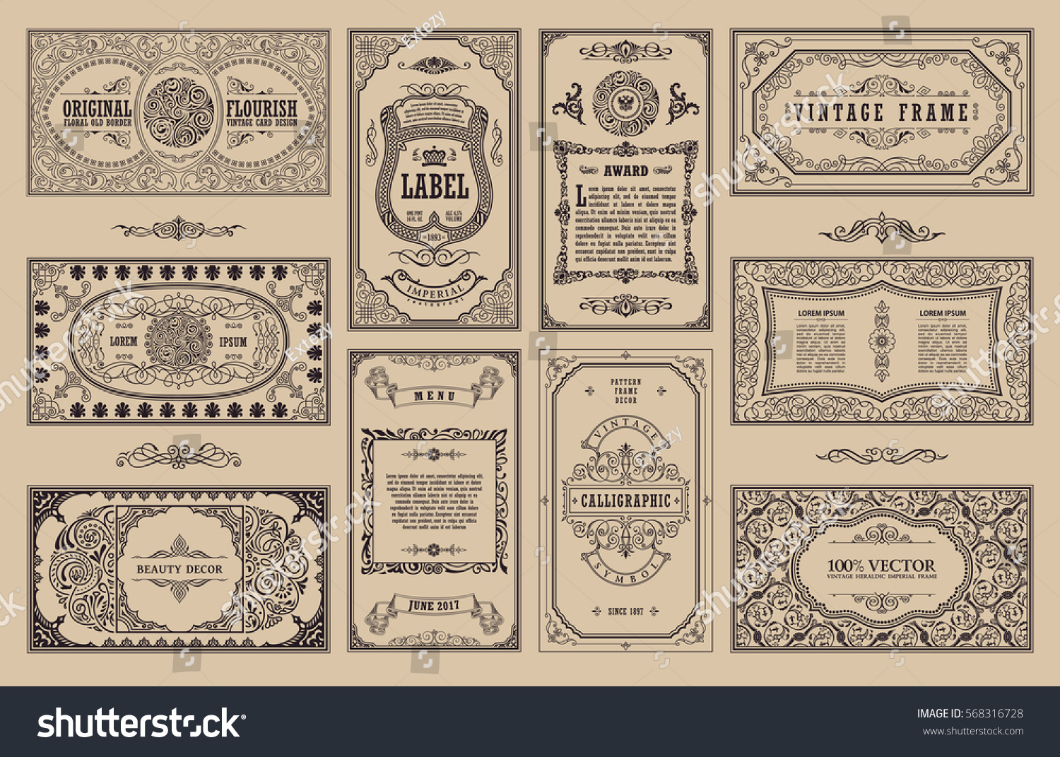 Vintage set retro cards template greeting stock vector for Queue cards template