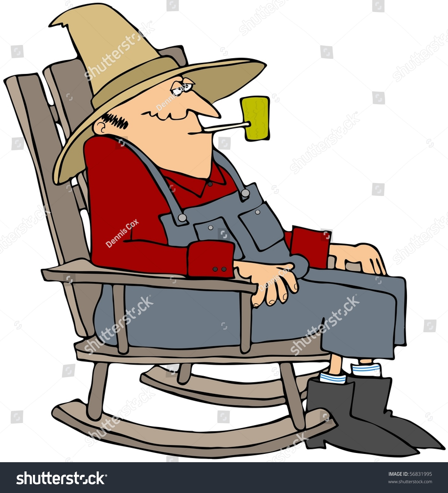 Old man rocking chair stock illustration