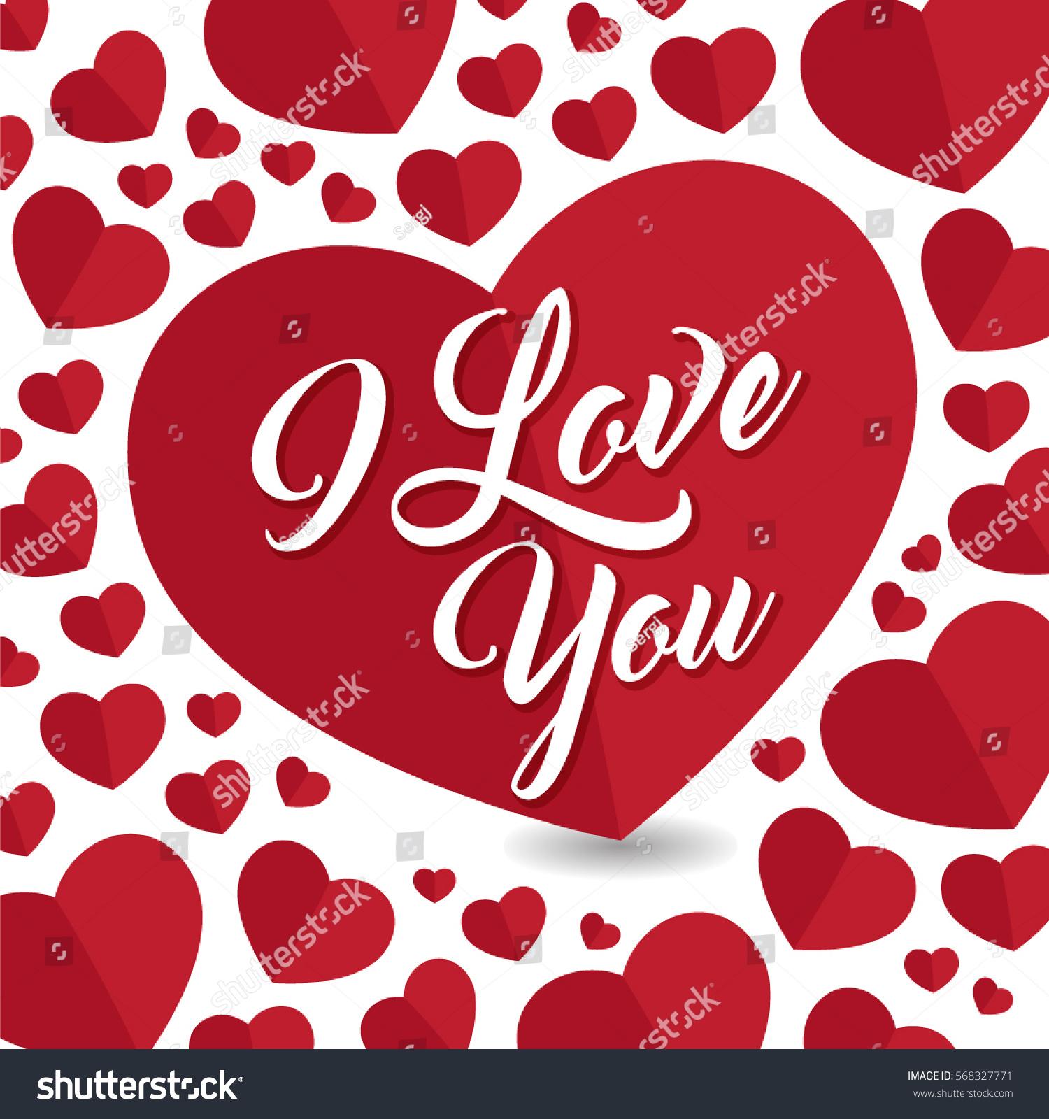Love You Greeting Post Card Hard Stock Vector Royalty Free