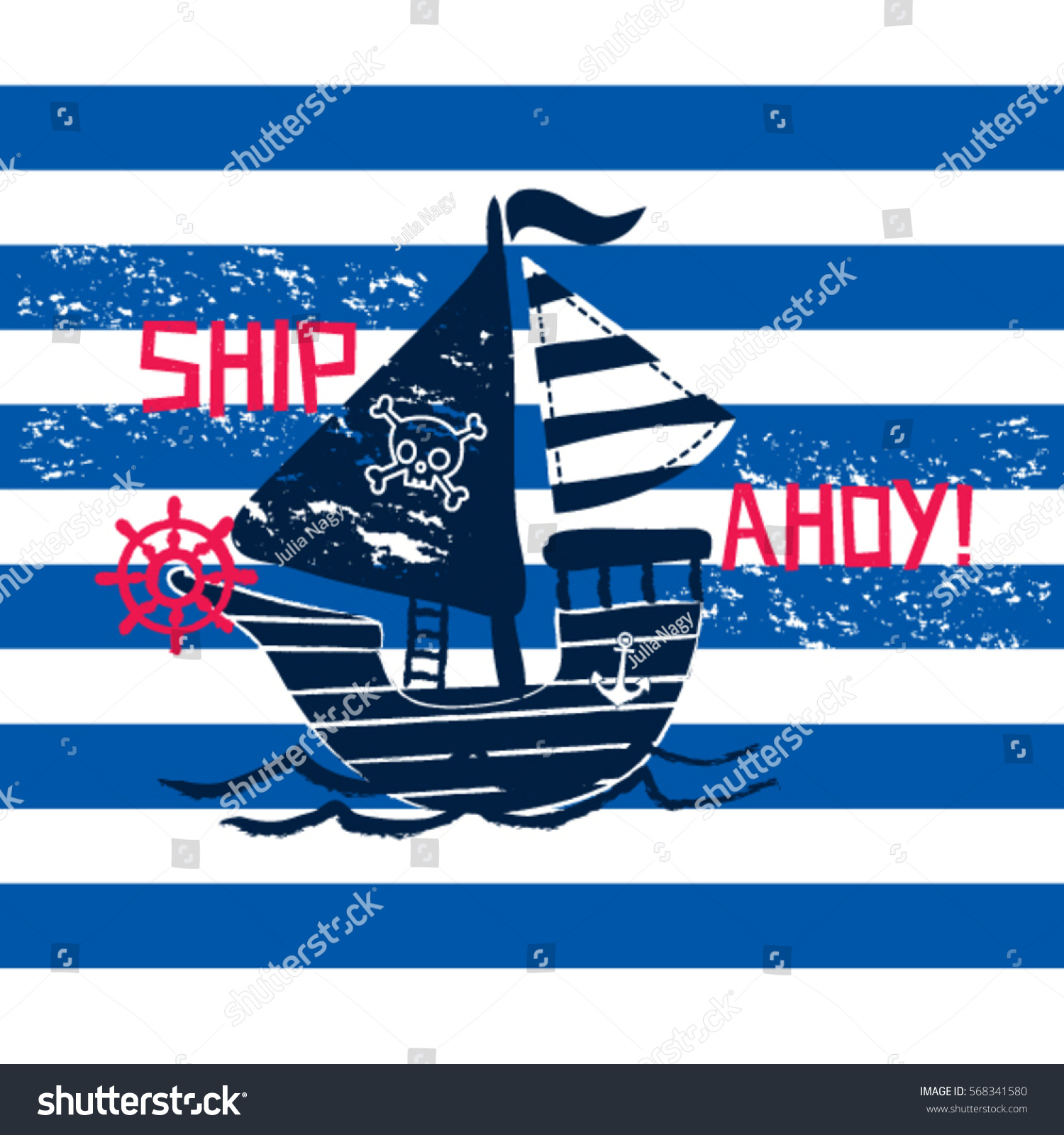 privateer on striped background pirate ship stock vector 568341580
