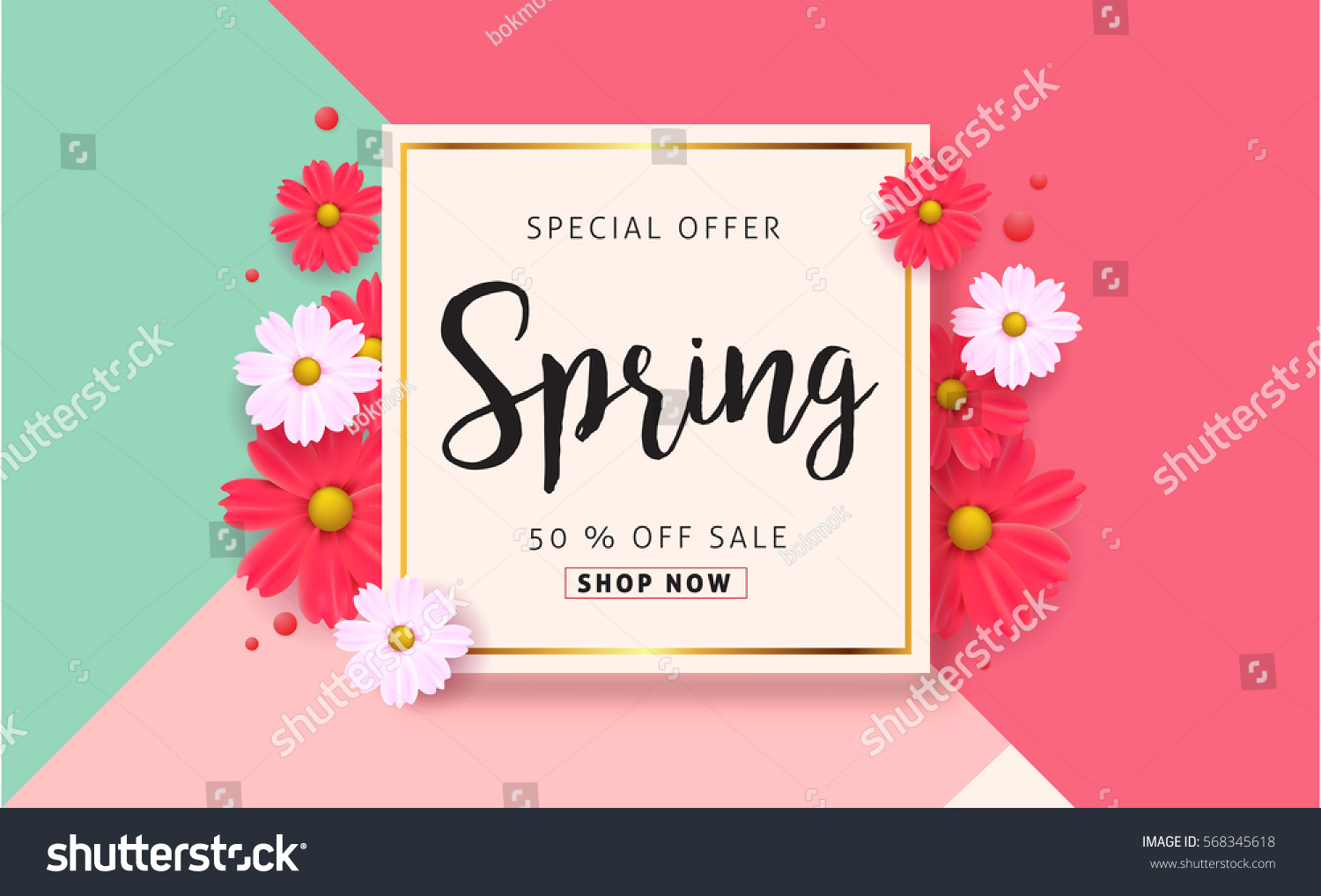 Spring sale background with beautiful colorful flower. Vector illustration template.banners.Wallpaper.flyers, invitation, posters, brochure, voucher discount. #568345618