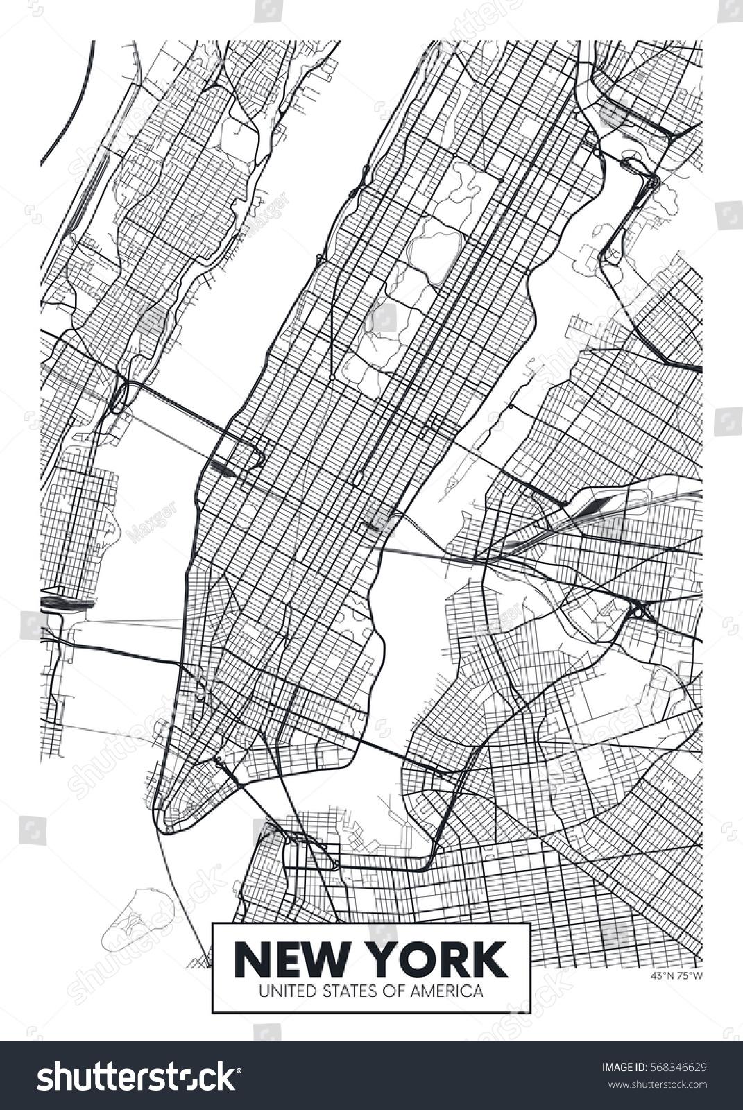 Vector Plakat Kort City New York Lagervektor Royaltyfri 568346629