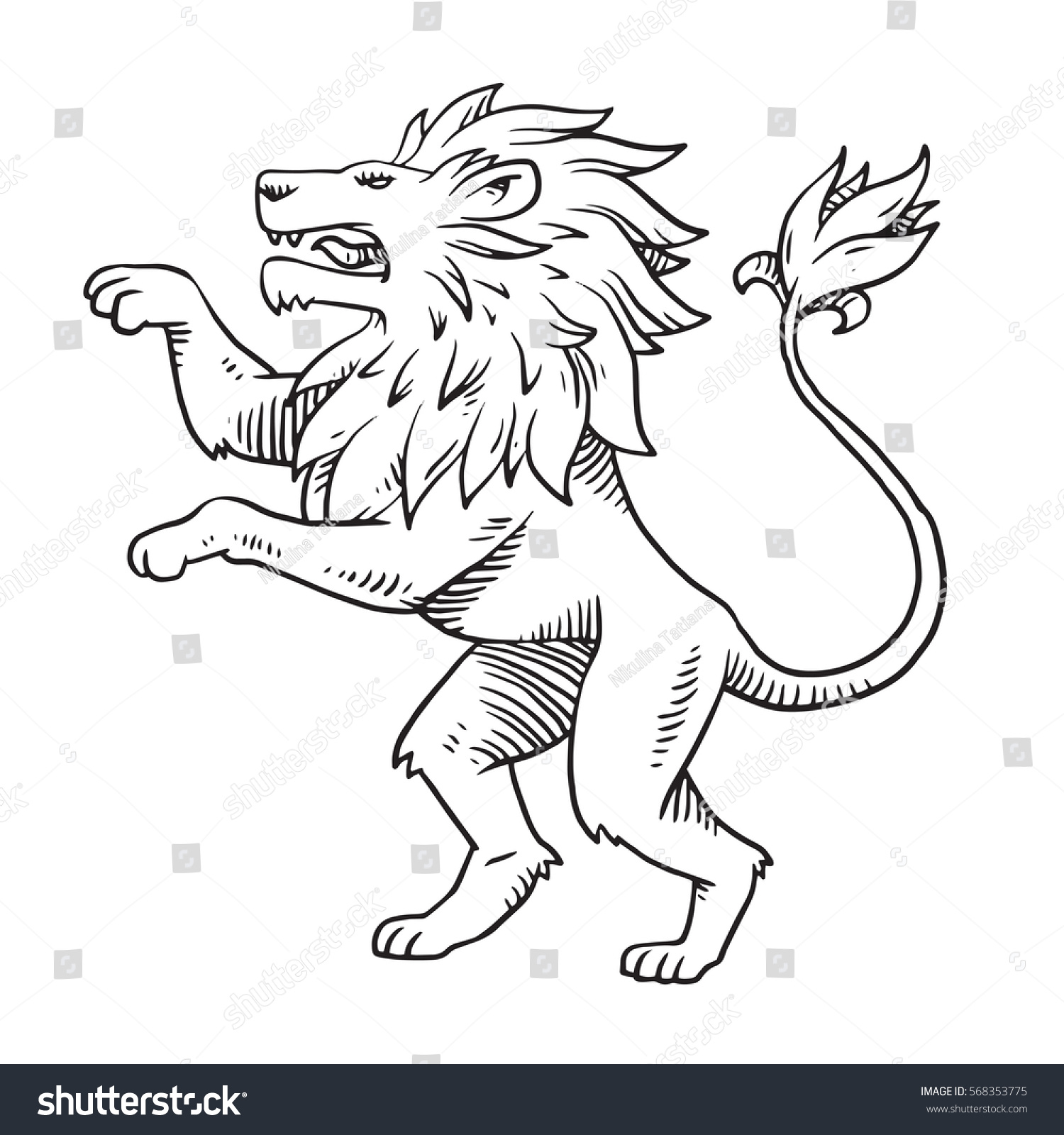 How to breed heraldic dragon - Vector Image Of Heraldic Lion With A Big Mane Standing On Its Hind Legs And Turn