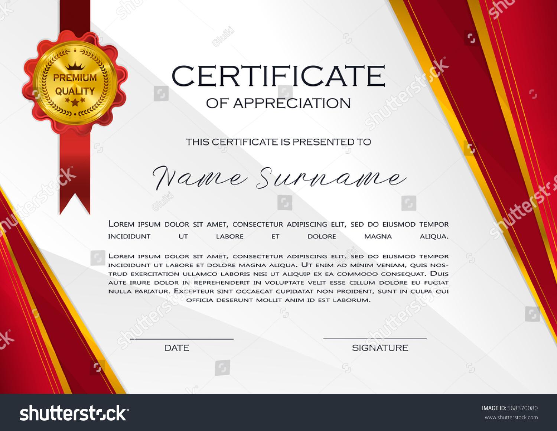 Qualification Certificate Appreciation Design Elegant Luxury Stock ...