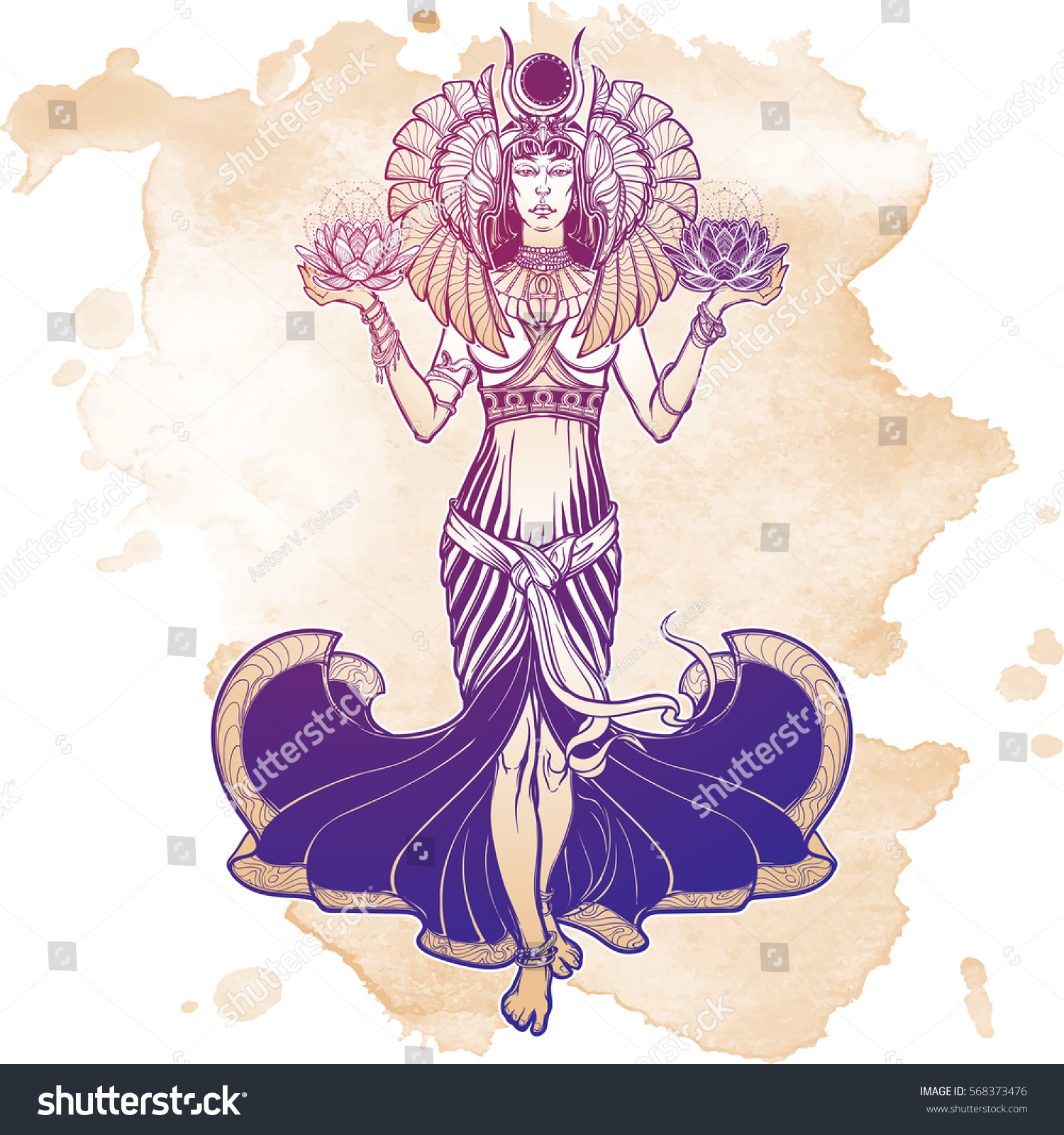 Egyptian Goddess Isis Balancing In Hands Black And White Lotus As A