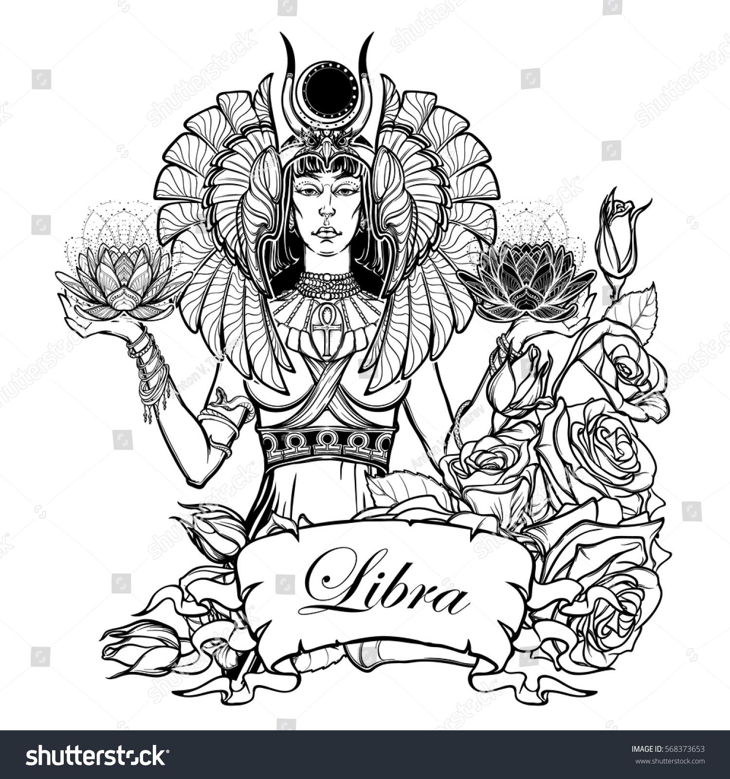 Zodiac Sign Libra Egyptian Goddess Isis Stock Vector Royalty Free